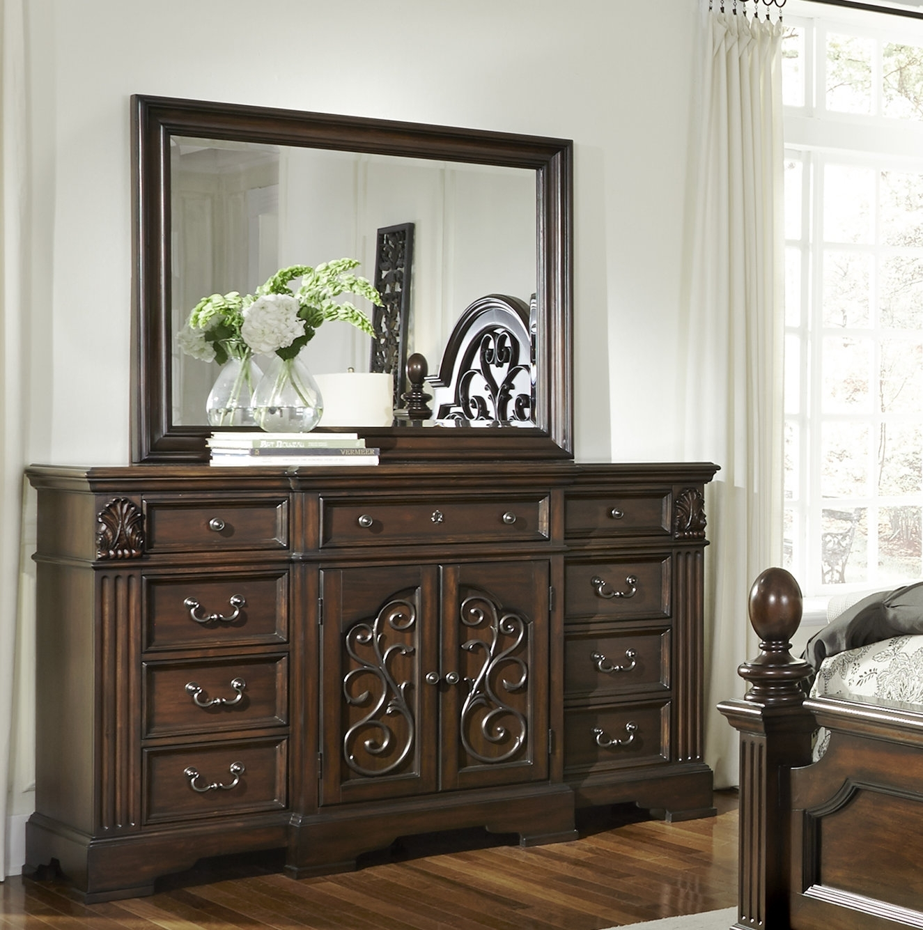 Fleur De Lis Living Corene 9 Drawer Combo Dresser With Mirror | Wayfair with regard to Bale Rustic Grey Sideboards (Image 11 of 30)