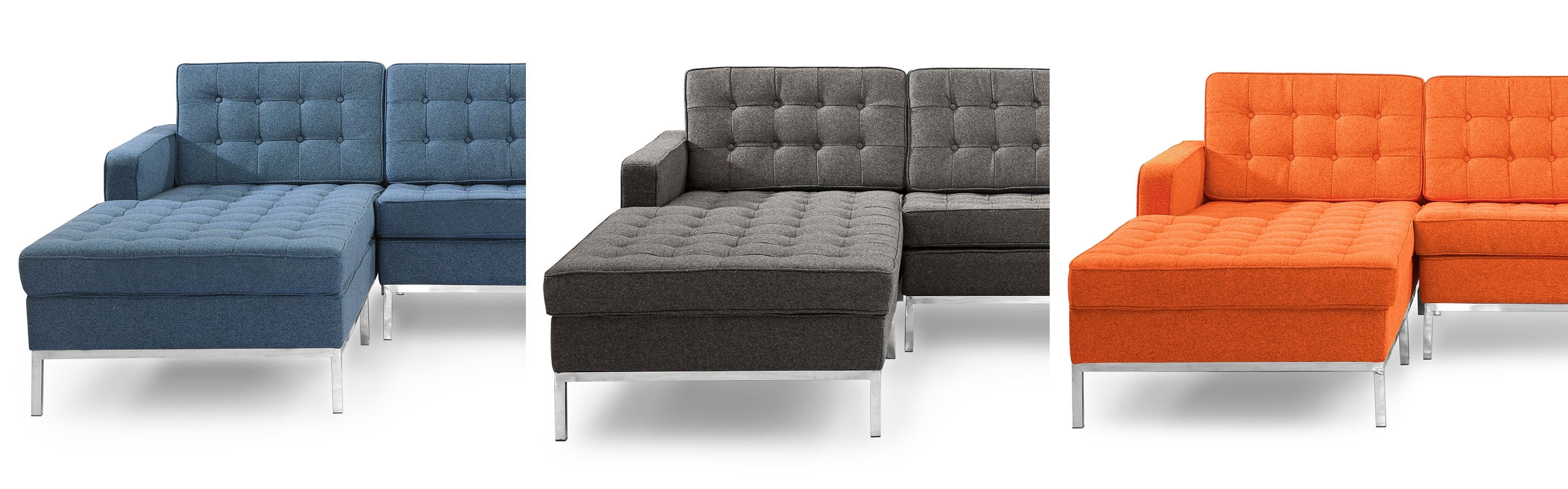 Florence Knoll Style Chaise Sectional Left And Right Facing Leather regarding Nico Grey Sectionals With Left Facing Storage Chaise (Image 5 of 30)