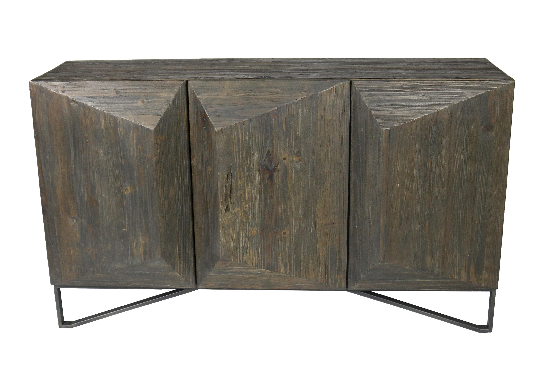 Foundry Select Amundson 3 Door Sideboard | Wayfair with regard to Reclaimed Pine & Iron 4-Door Sideboards (Image 11 of 30)