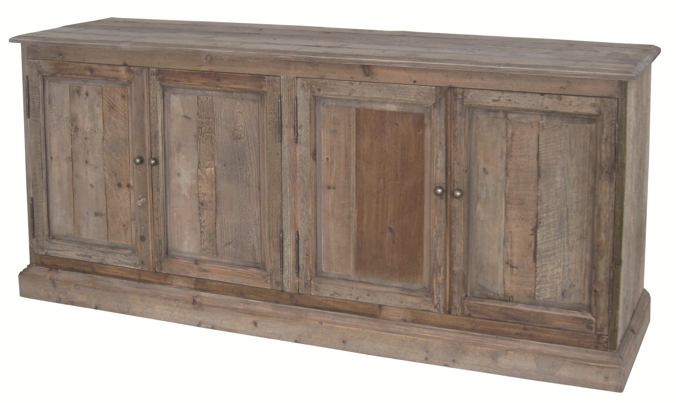 Four Hands Hughes Kelly Large Serving Table With 4 Doors & Metal inside Reclaimed Pine 4-Door Sideboards (Image 14 of 30)