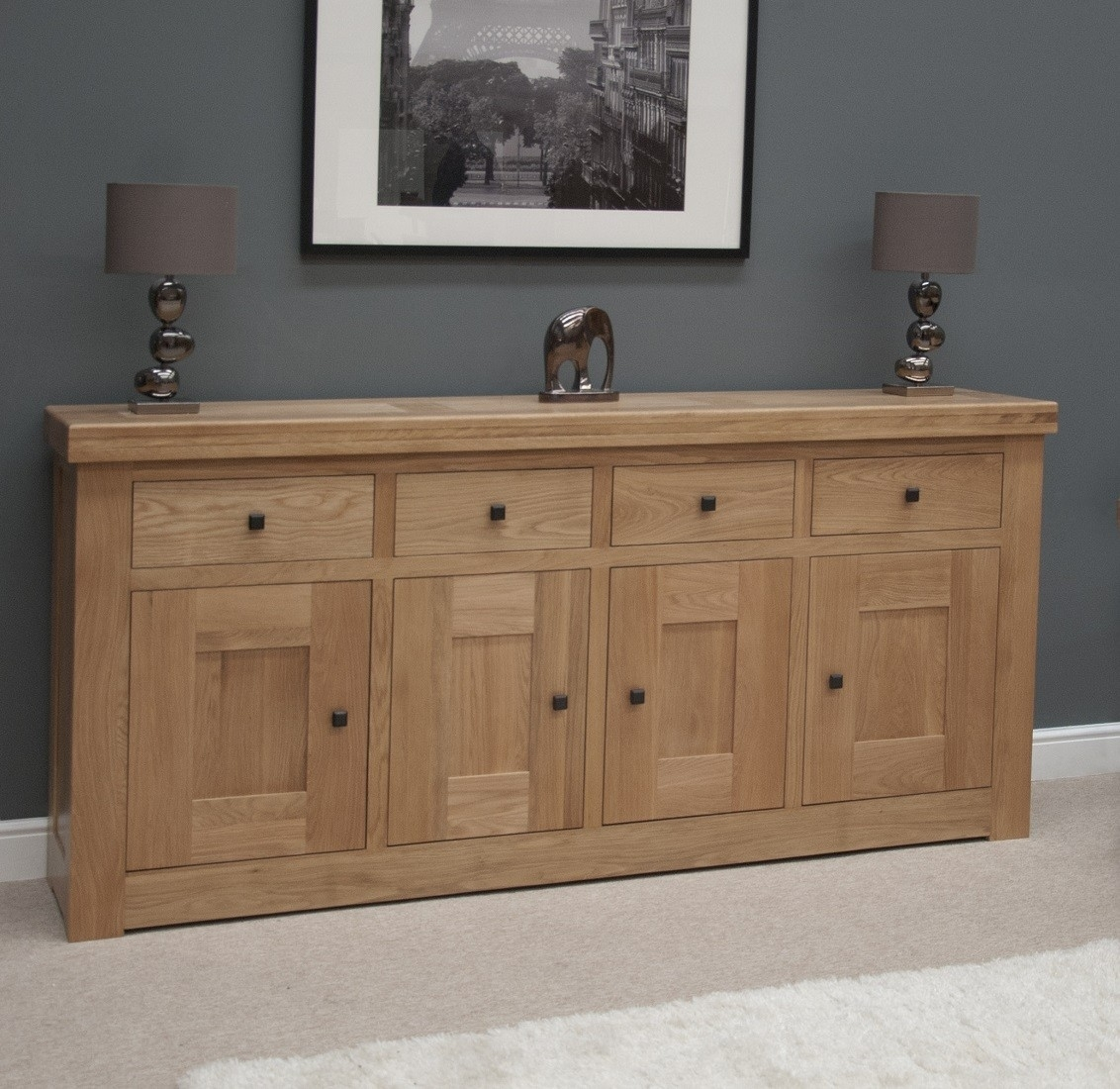 French Bordeaux Oak Extra Large 4 Door Sideboard | Oak Furniture Uk regarding Vintage Finish 4-Door Sideboards (Image 7 of 30)