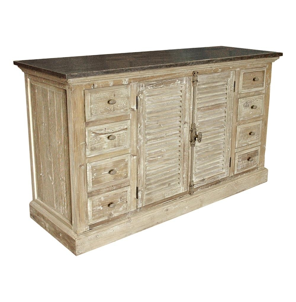 French Provincial Louvered Doors White Wash Sideboard | Kathy Kuo Home Intended For 4 Door 3 Drawer White Wash Sideboards (View 4 of 30)