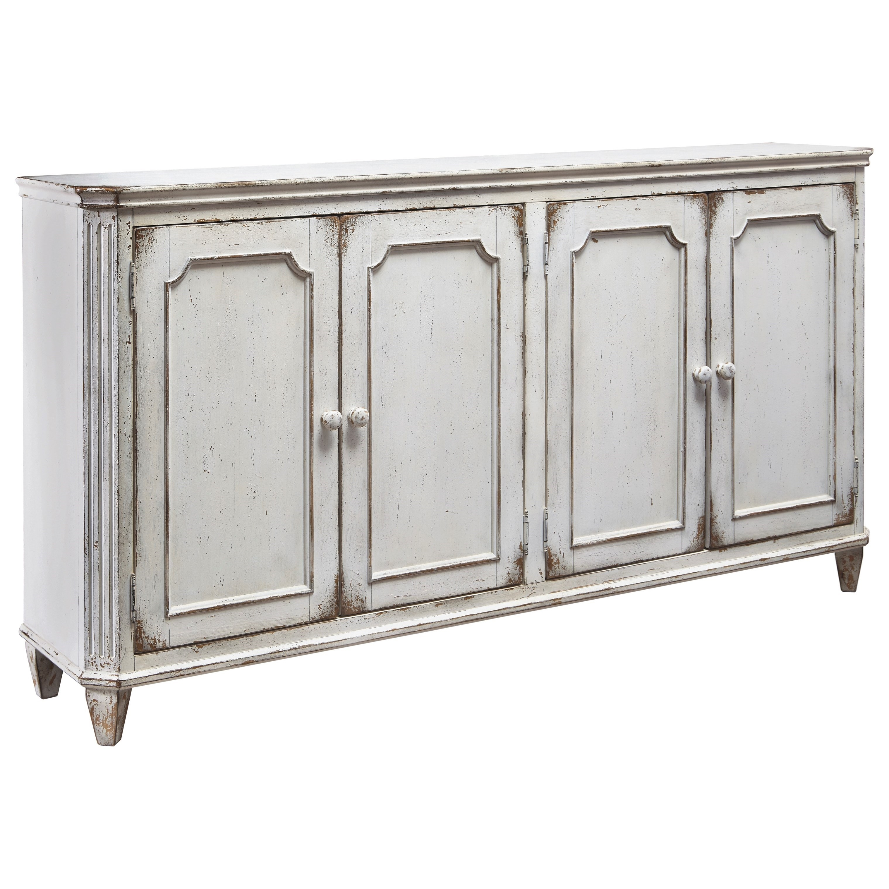 French Provincial Style Door Accent Cabinet In Antique White Finish pertaining to Vintage Finish 4-Door Sideboards (Image 9 of 30)