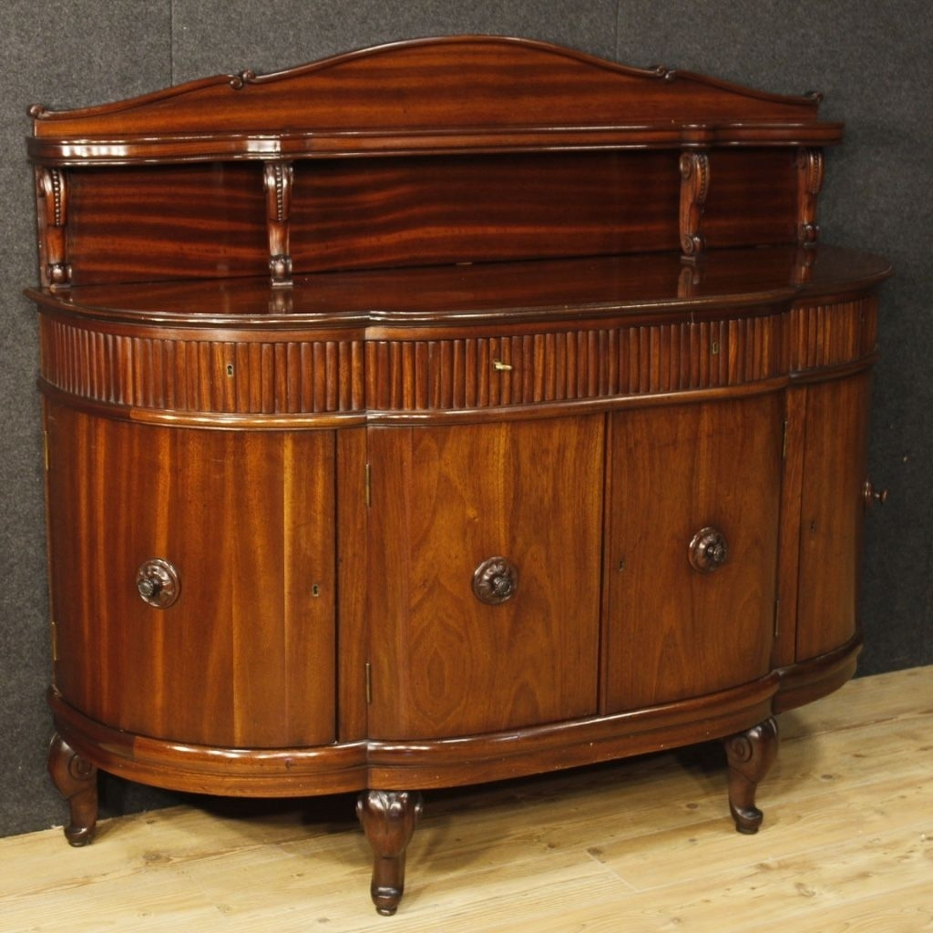 French Sideboard In Mahogany Wood With 4 Doors And 4 Drawers From With Regard To Carved 4 Door Metal Frame Sideboards (View 22 of 30)