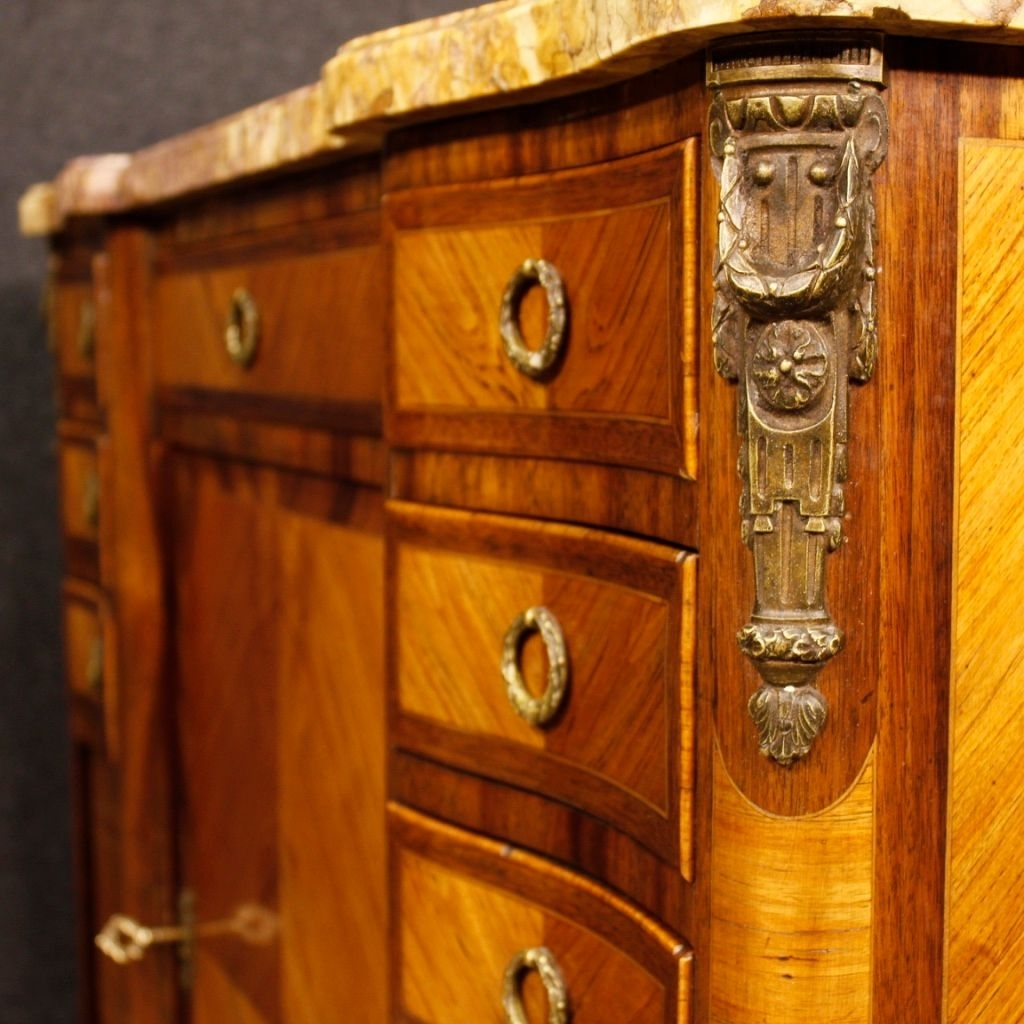 French Sideboard In Wood With Gilded Bronze Details And Marble Top for Rossi Large Sideboards (Image 7 of 30)