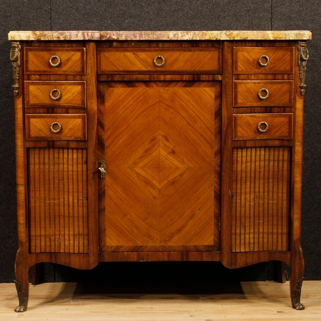 French Sideboard In Wood With Gilded Bronze Details And Marble Top for Rossi Large Sideboards (Image 6 of 30)
