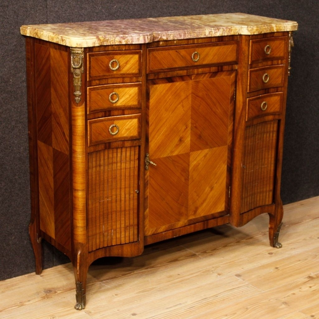 French Sideboard In Wood With Gilded Bronze Details And Marble Top in Rossi Large Sideboards (Image 8 of 30)
