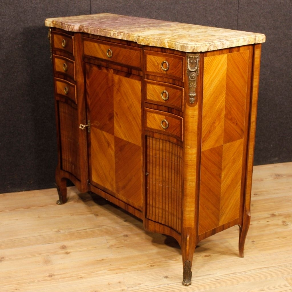 French Sideboard In Wood With Gilded Bronze Details And Marble Top with Rossi Large Sideboards (Image 11 of 30)