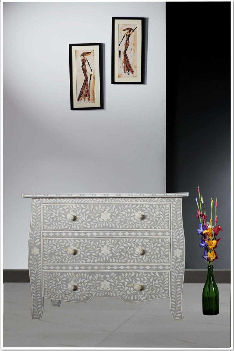 French Style Light Grey Bone Inlay Three Drawer Chest within Geo Pattern Black and White Bone Inlay Sideboards (Image 15 of 30)