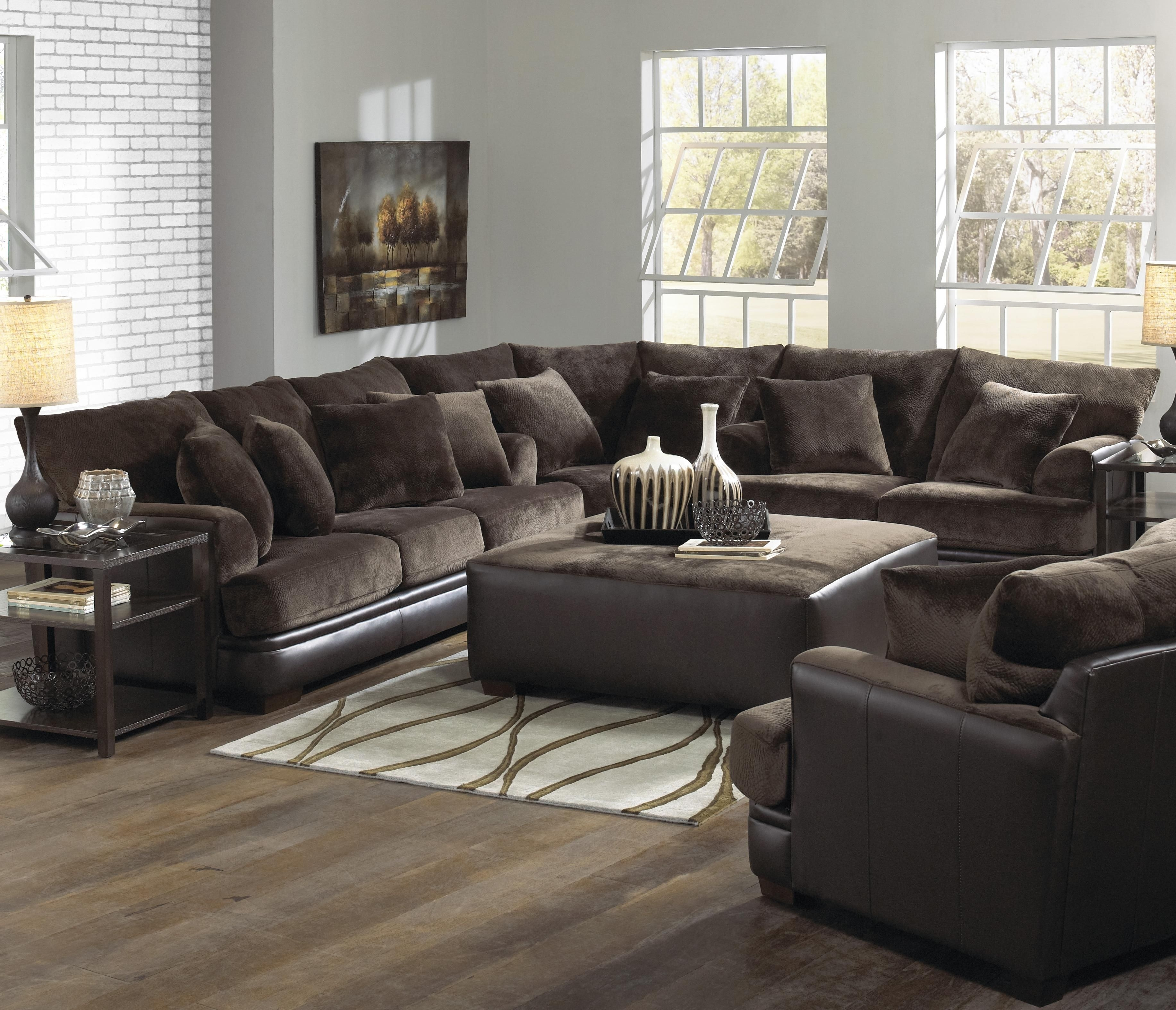 Furniture. Dark Brown Velvet Couch Plus Black Leather Base Also intended for Declan 3 Piece Power Reclining Sectionals With Right Facing Console Loveseat (Image 17 of 30)