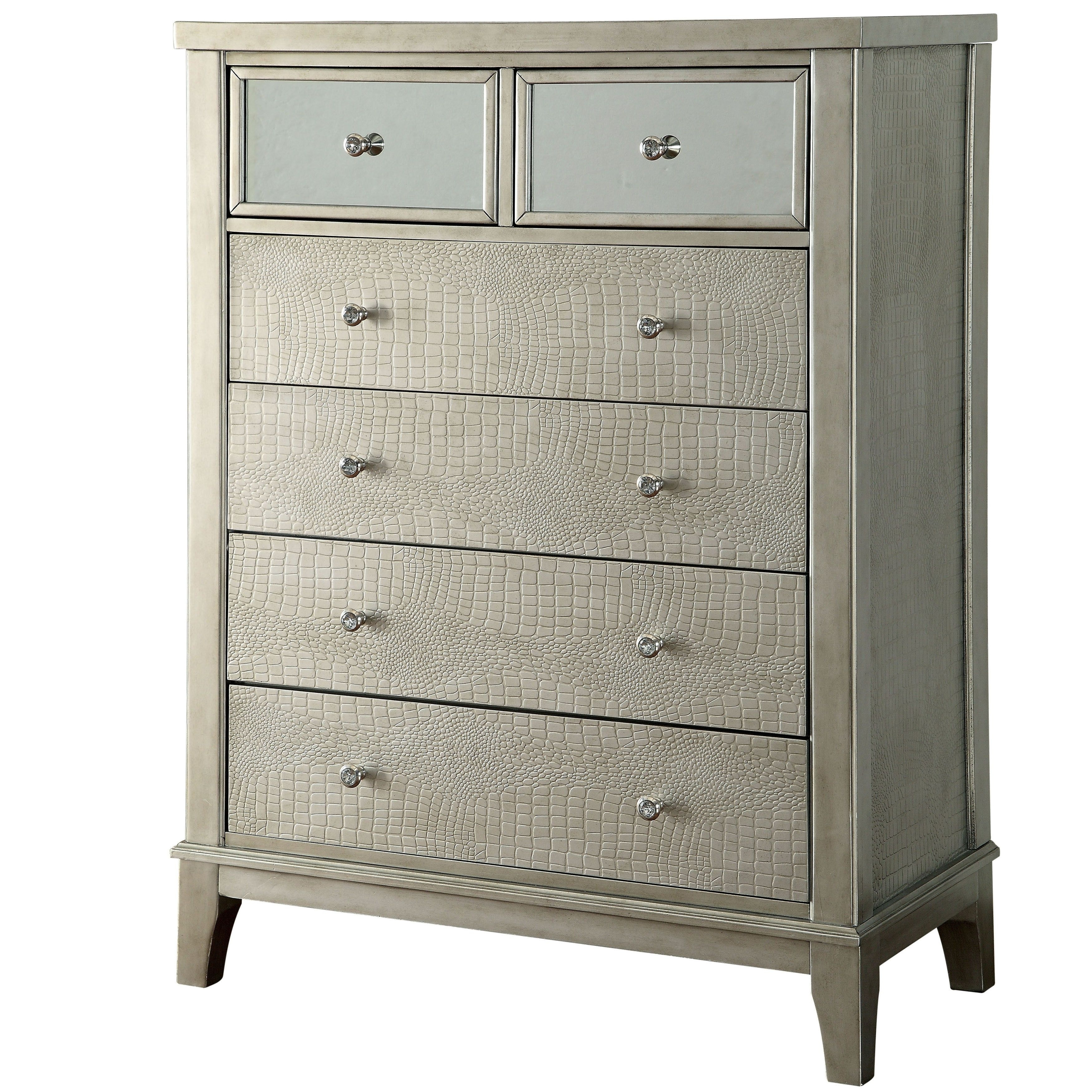 Furniture Of America Divenna Modern Crocodile Silver Chest within Palazzo 87 Inch Sideboards (Image 10 of 30)