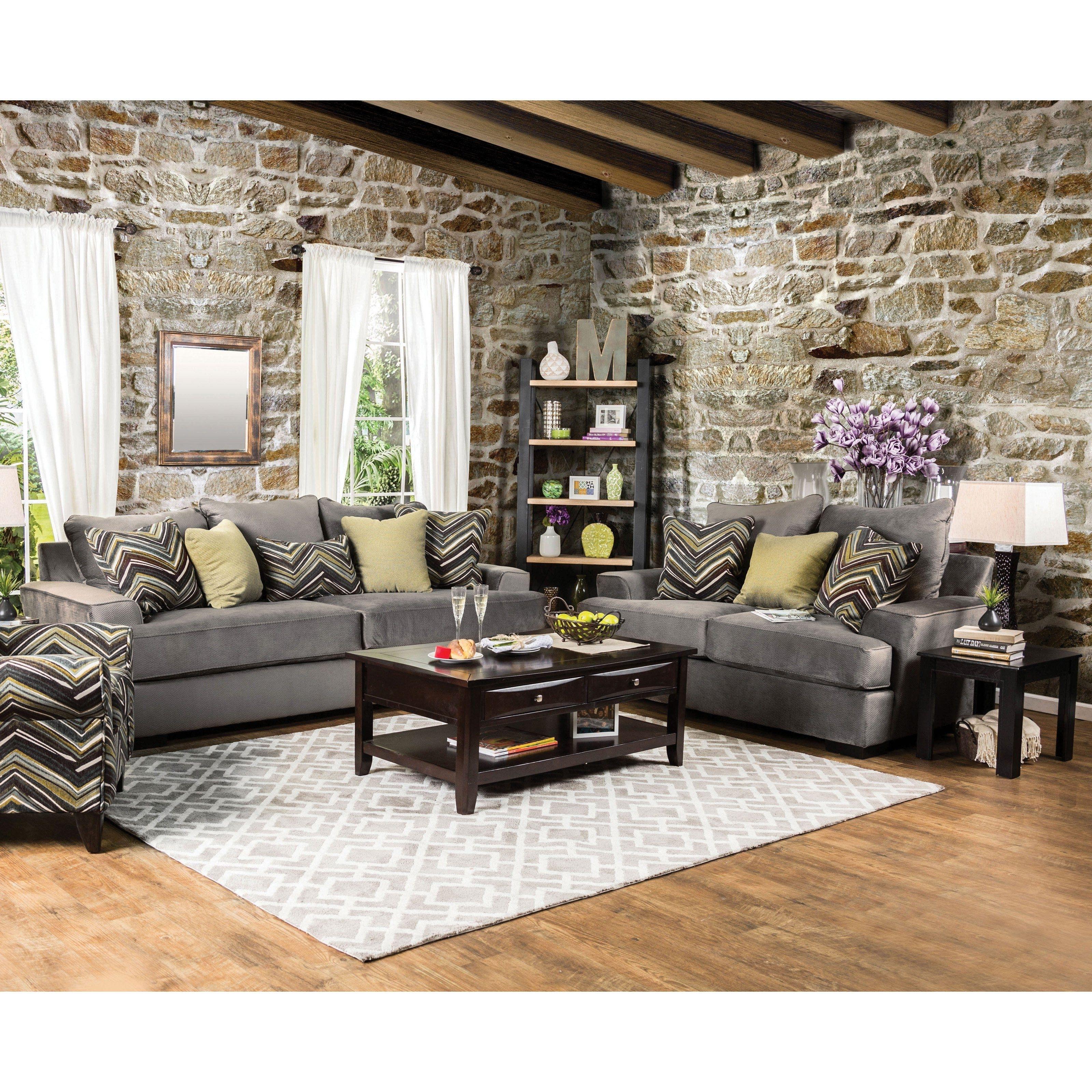 Furniture Of America Marius Simple Living 2 Piece Sofa Set - Idf with Marius Dark Grey 3 Piece Sectionals (Image 9 of 30)