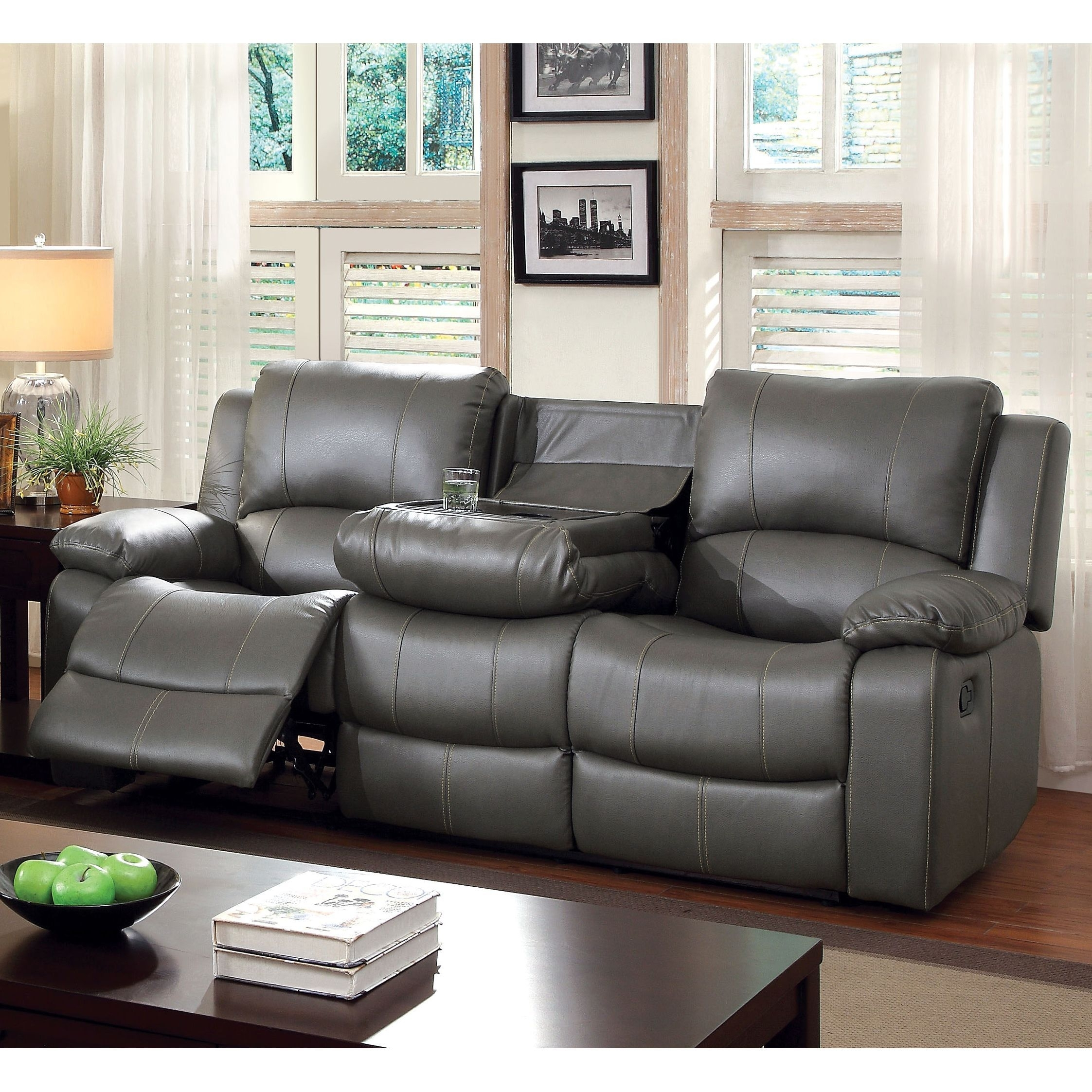 Furniture Of America Rembren Grey Bonded Leather Reclining Sofa Regarding Marcus Oyster 6 Piece Sectionals With Power Headrest And Usb (View 7 of 30)