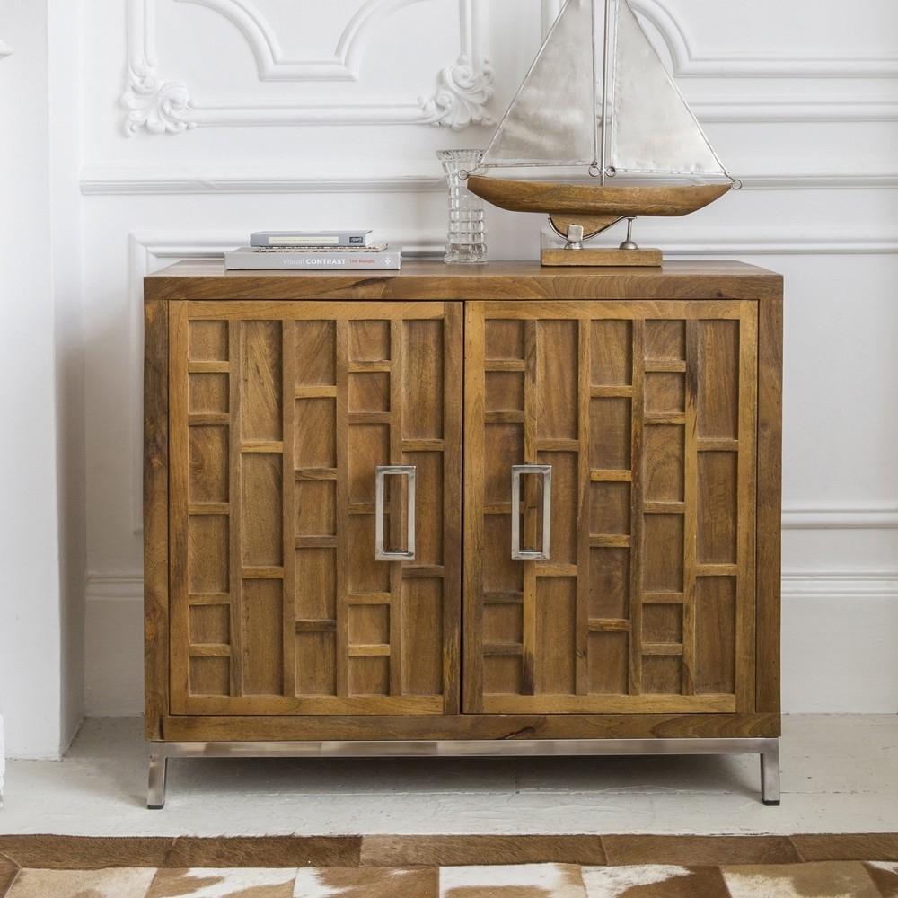 Furniture Online - 2 Door Sideboard In Mango Wood With Stain Steel Base with Mango Wood 2-Door/2-Drawer Sideboards (Image 11 of 30)
