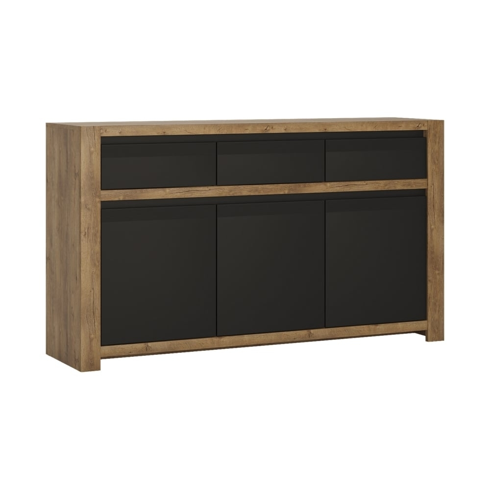 Furniture To Go Havana Black & Lefkas Oak Sideboard | Leader Stores regarding Industrial 3 Drawer 3 Door Sideboards (Image 10 of 30)