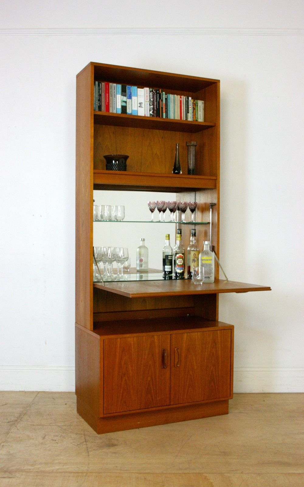 G Plan Mid Century Bar Cocktail Cabinet / Retro Teak Sideboard throughout White Wash Carved Door Jumbo Sideboards (Image 9 of 30)