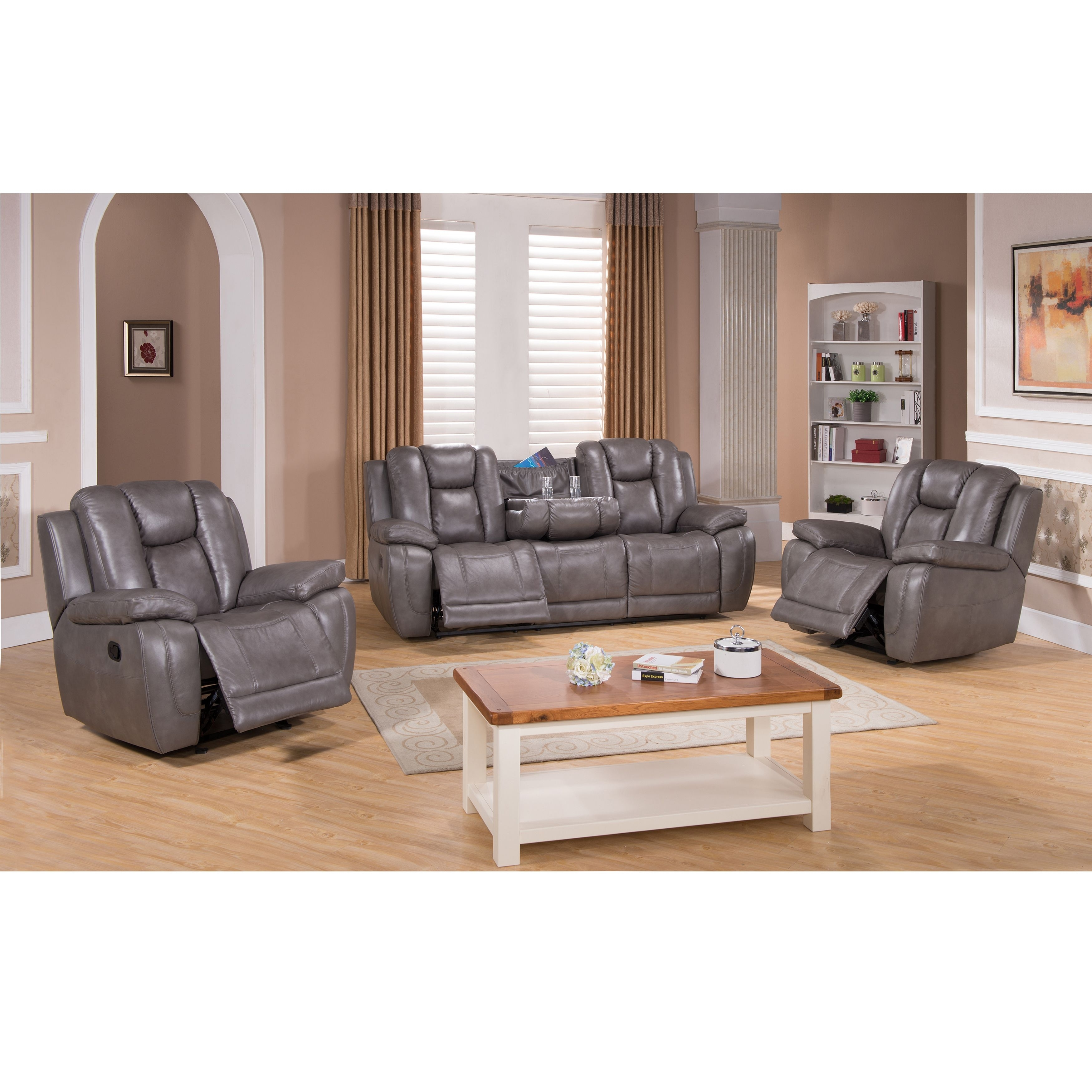 Galaxy Gray Top Grain Leather Lay Flat Reclining Sofa And Two in Travis Dk Grey Leather 6 Piece Power Reclining Sectionals With Power Headrest & Usb (Image 8 of 30)