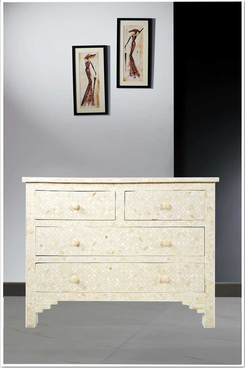 Geometric Pattern Bone Inlay Four Drawer Commode-White intended for Geo Pattern Black and White Bone Inlay Sideboards (Image 16 of 30)