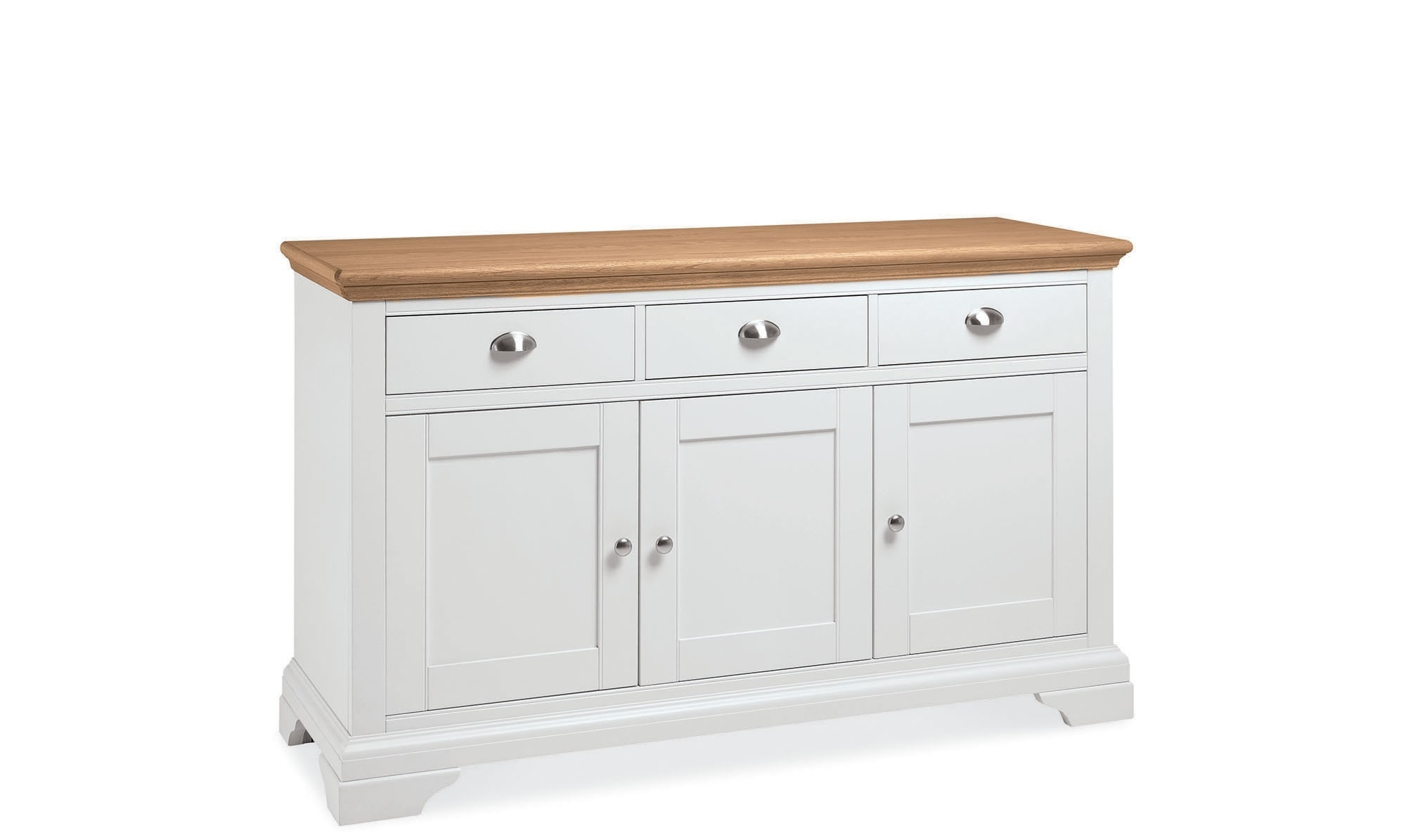 Georgie - Wide 3 Door Sideboard In Cream - Fishpools inside Natural South Pine Sideboards (Image 5 of 30)