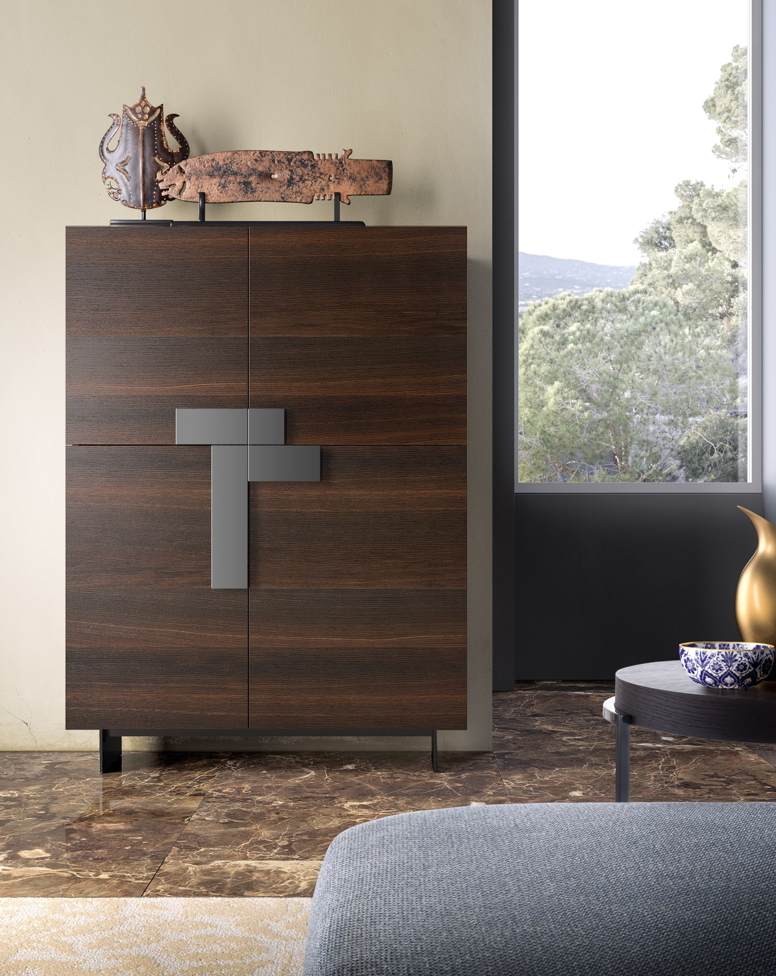 Ginevra Sideboard With Burnt Oak Structure And Fronts, Titanium within Black Burnt Oak Sideboards (Image 10 of 30)