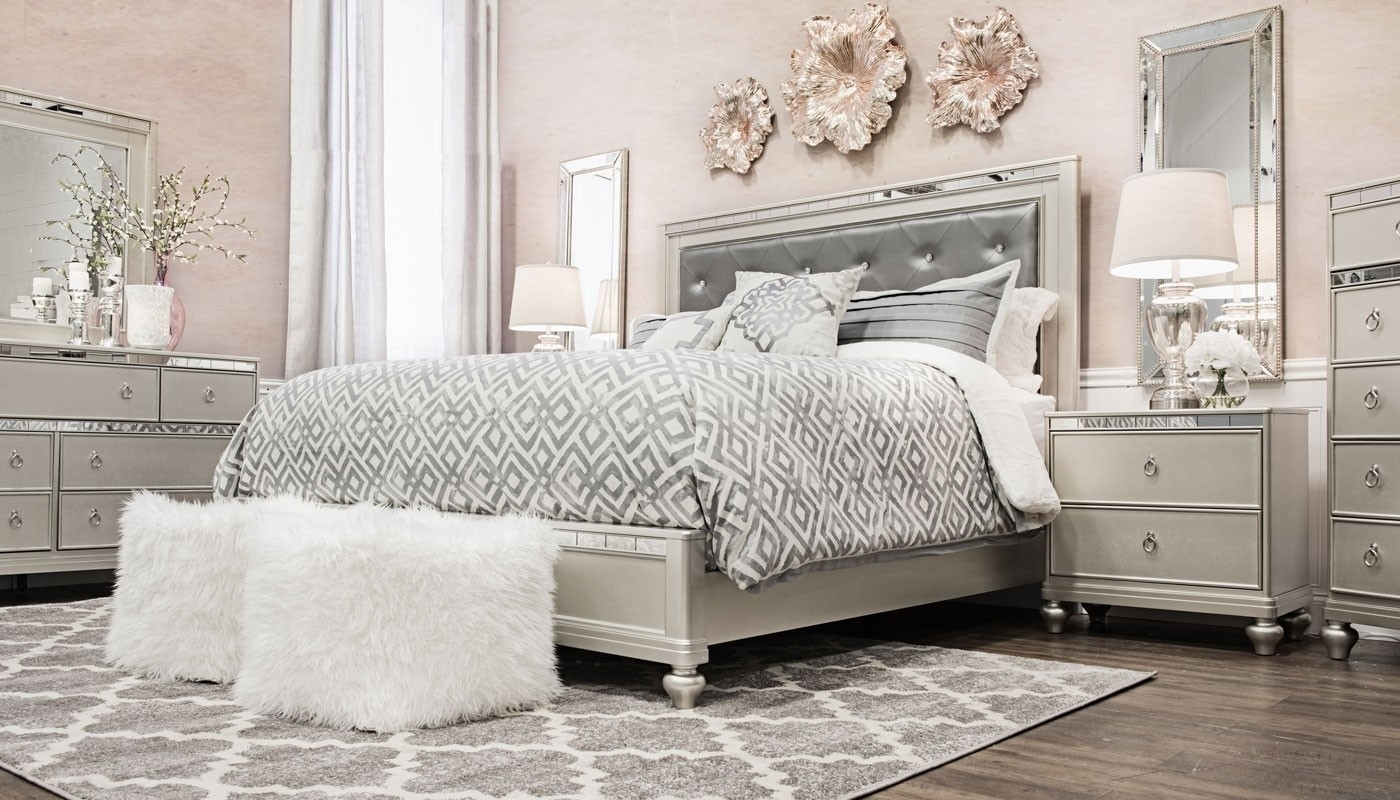 Glam Bed - Home Zone Furniture | Bedroom inside Glamour Ii 3 Piece Sectionals (Image 13 of 30)