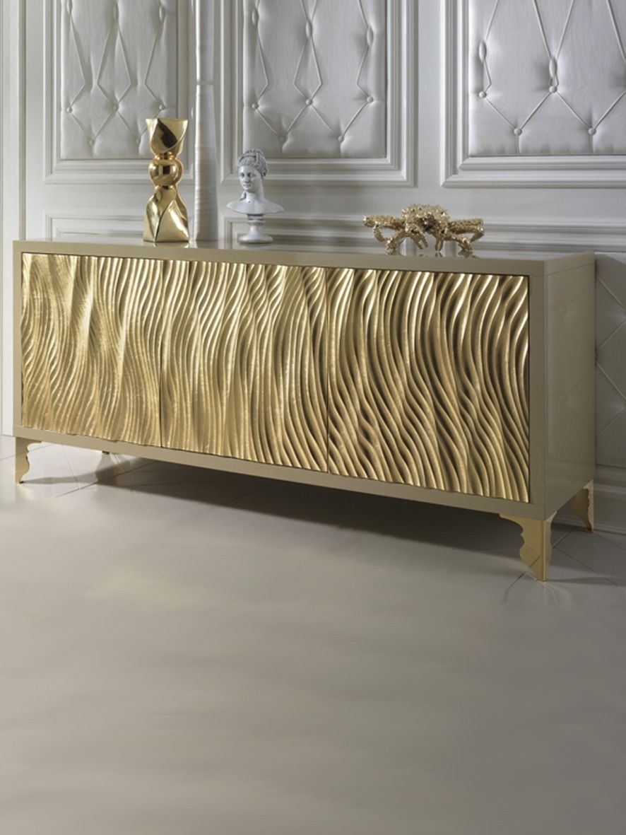 Gold Leaf Wave Fronted Buffet Sideboard | Hall Inspiration Wall Unit in Diamond Circle Sideboards (Image 15 of 30)