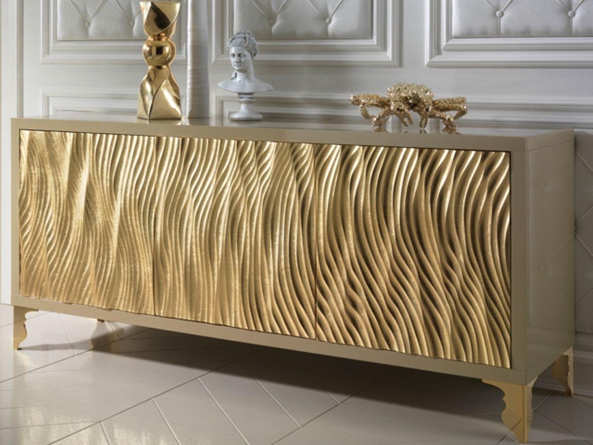 Gold Leaf Wave Fronted Buffet Sideboard | Interior & Exterior Design in Mid Burnt Oak 71 Inch Sideboards (Image 9 of 30)