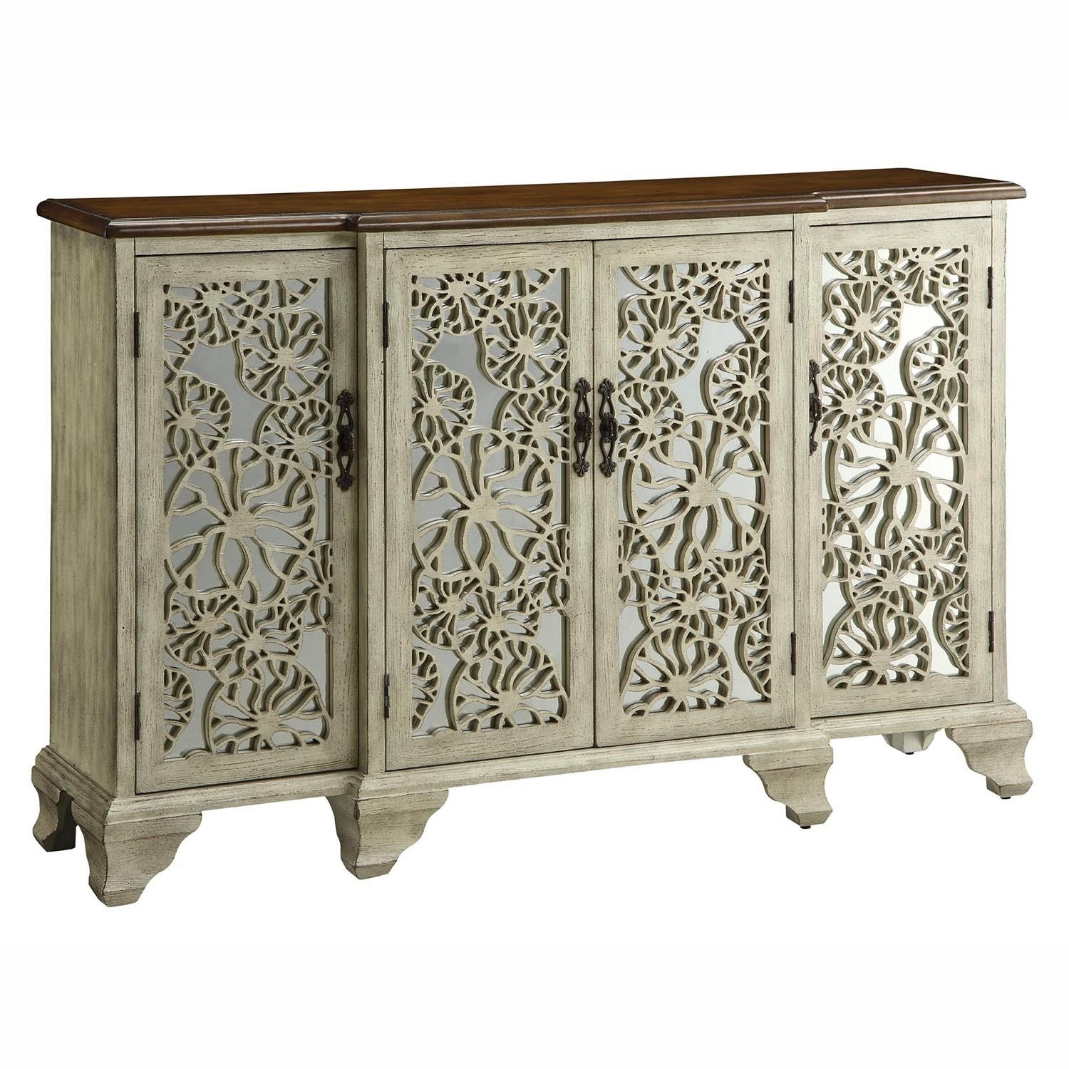 Gorgeous Antique White Wood 4 Mirrored Doors Sideboard Buffet within Aged Mirrored 2 Door Sideboards (Image 14 of 30)