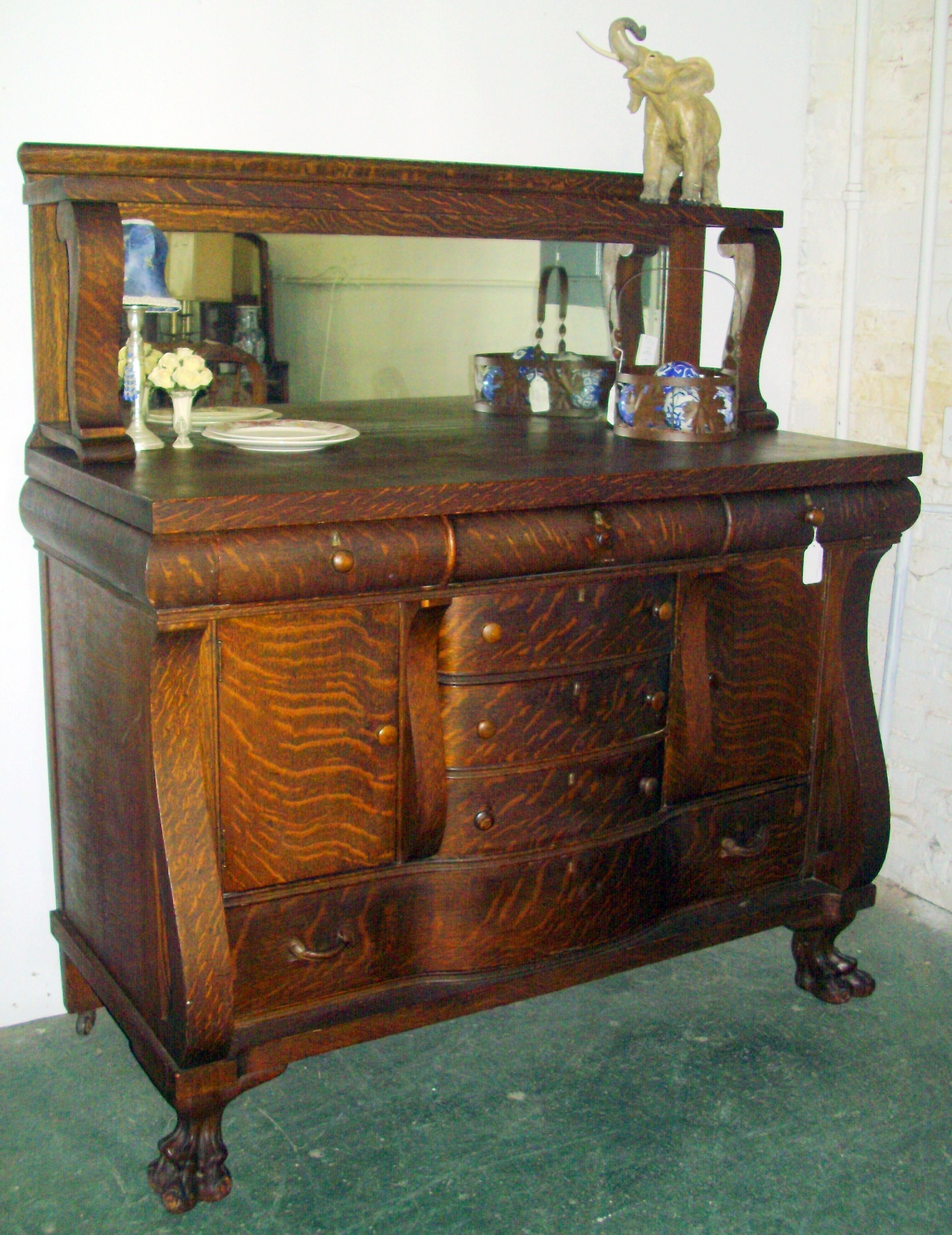 Gorgeous Early American Tiger Oak Sideboard. Beautiful Condition in 2-Door Mirror Front Sideboards (Image 13 of 30)