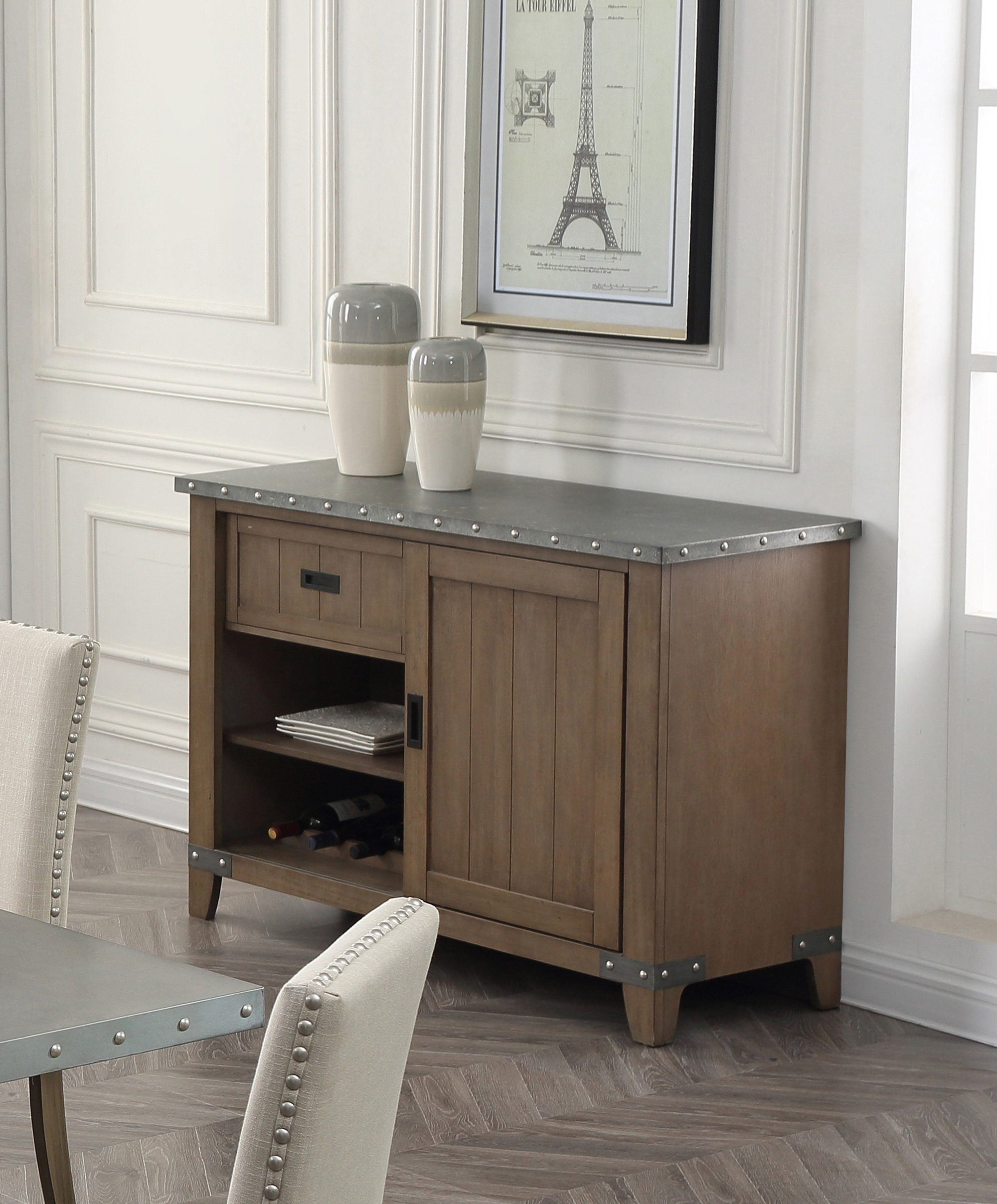 Gracie Oaks Oden Server | Wayfair within White Wash 4-Door Galvanized Sideboards (Image 13 of 30)