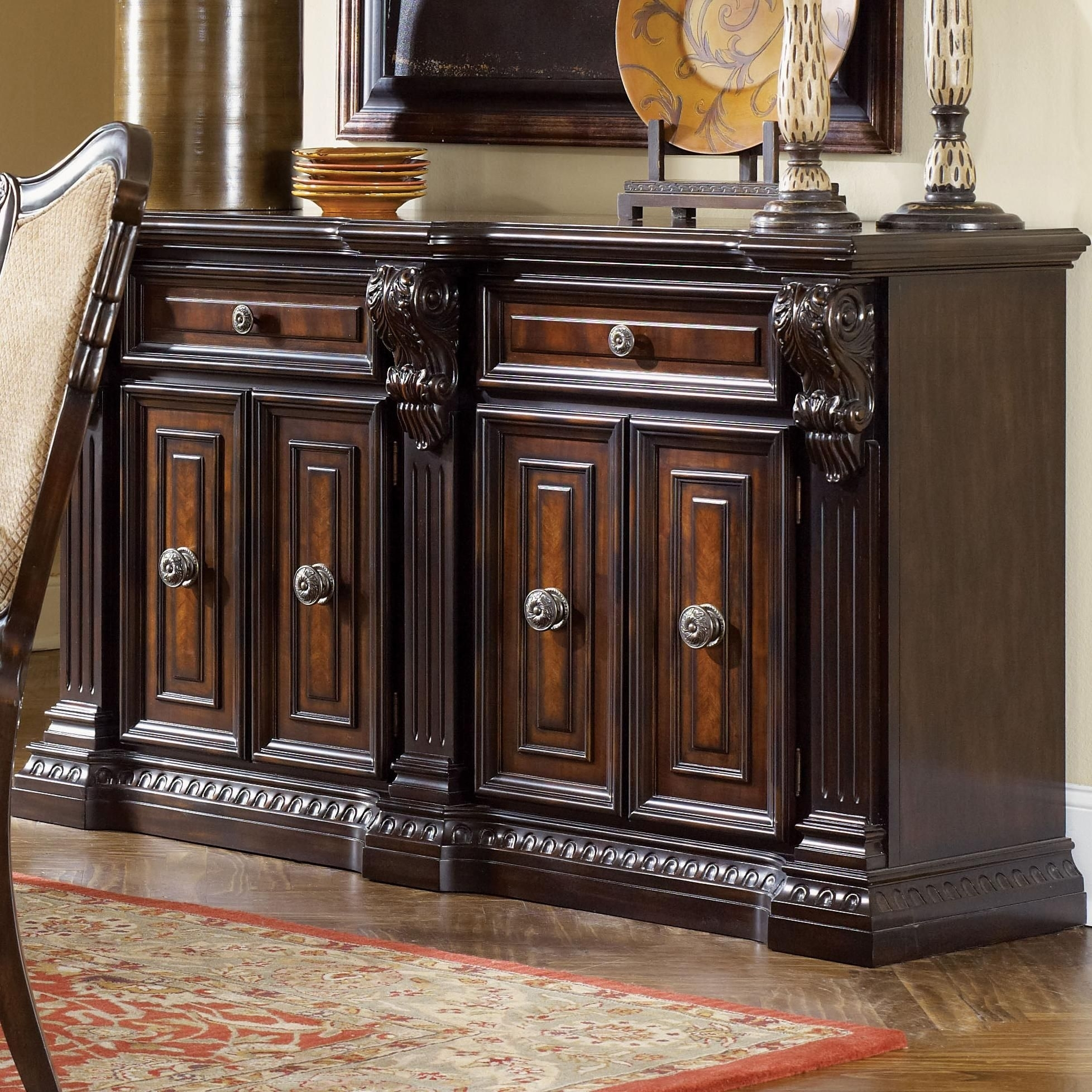Grand Estates Sideboard Table W/ 2 Drawersfairmont Designs | For throughout 2-Door/2-Drawer Cast Jali Sideboards (Image 11 of 30)