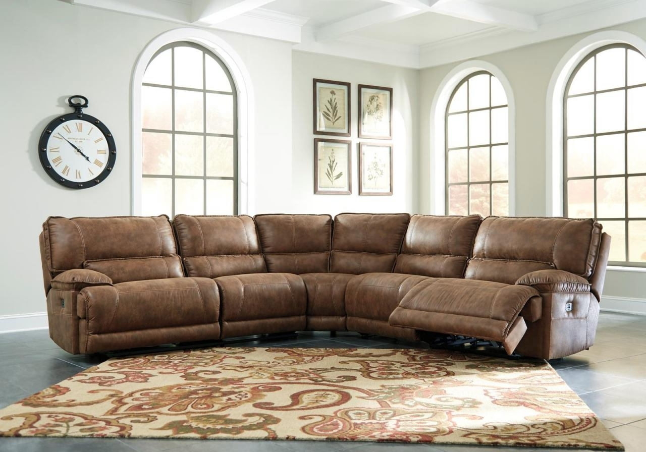 Grattis 5-Piece Sectional Living Room Set In Saddle for Kristen Silver Grey 6 Piece Power Reclining Sectionals (Image 8 of 30)