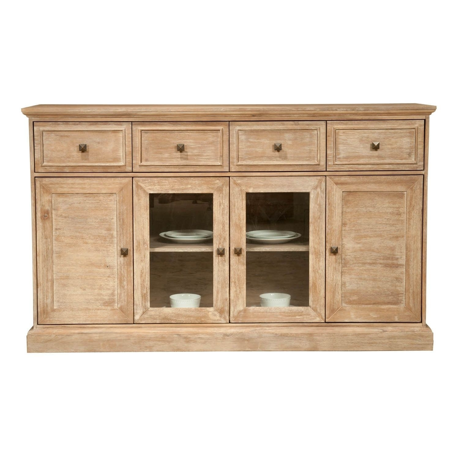 Gray Manor Harlan Stone Wash Acacia 4-Door Dining Sideboard (Stone pertaining to Acacia Wood 4-Door Sideboards (Image 9 of 30)