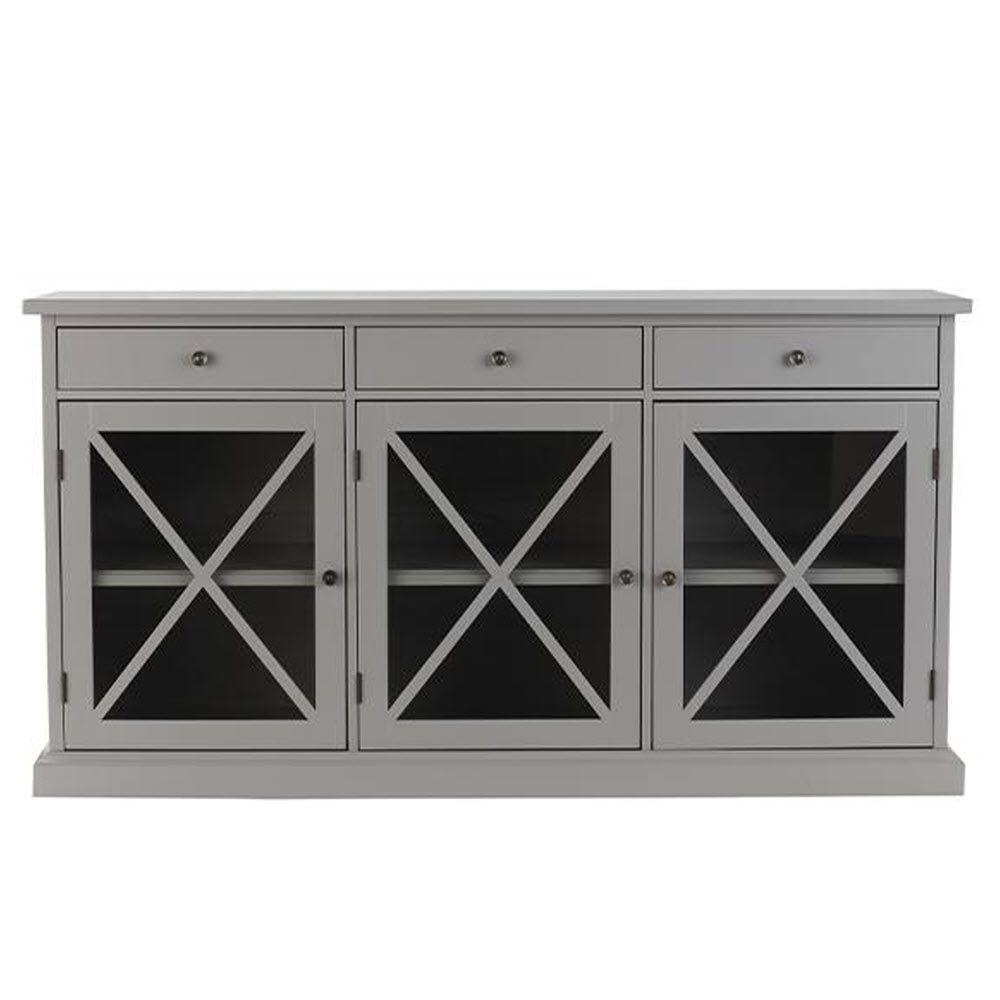 Gray - Sideboards & Buffets - Kitchen & Dining Room Furniture - The inside Black Oak Wood and Wrought Iron Sideboards (Image 11 of 30)