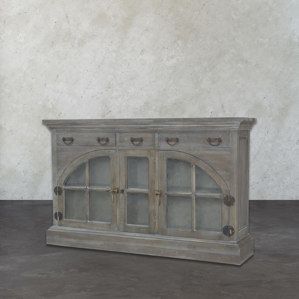 Gray - Sideboards & Buffets - Kitchen & Dining Room Furniture - The intended for White Wash 4-Door Sideboards (Image 9 of 30)