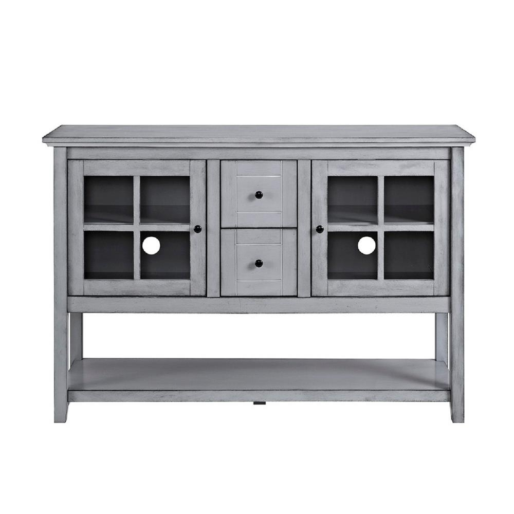 Gray - Sideboards & Buffets - Kitchen & Dining Room Furniture - The throughout Black Oak Wood and Wrought Iron Sideboards (Image 12 of 30)