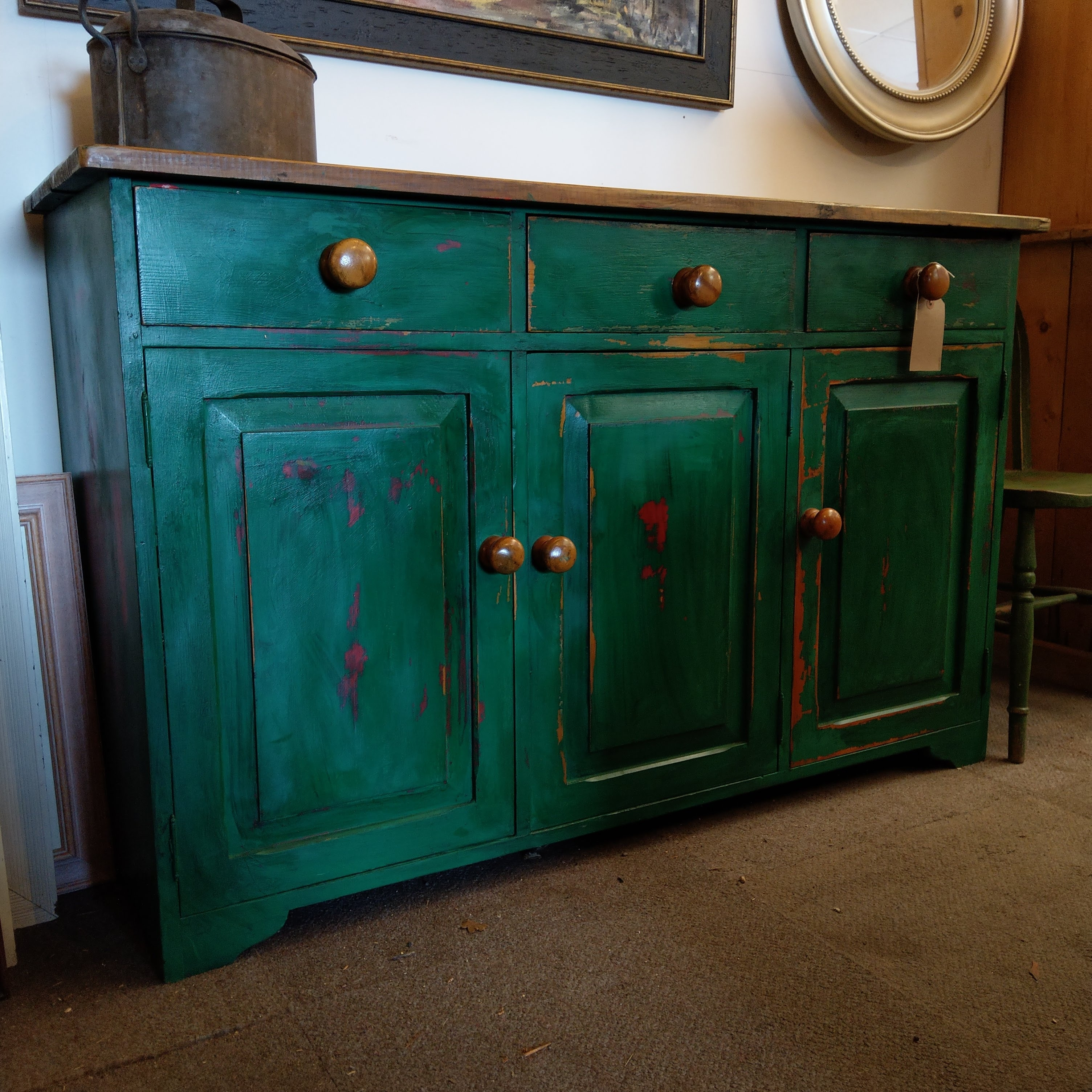 Green Sideboard With Pine Top throughout Reclaimed Pine Turquoise 4-Door Sideboards (Image 10 of 30)