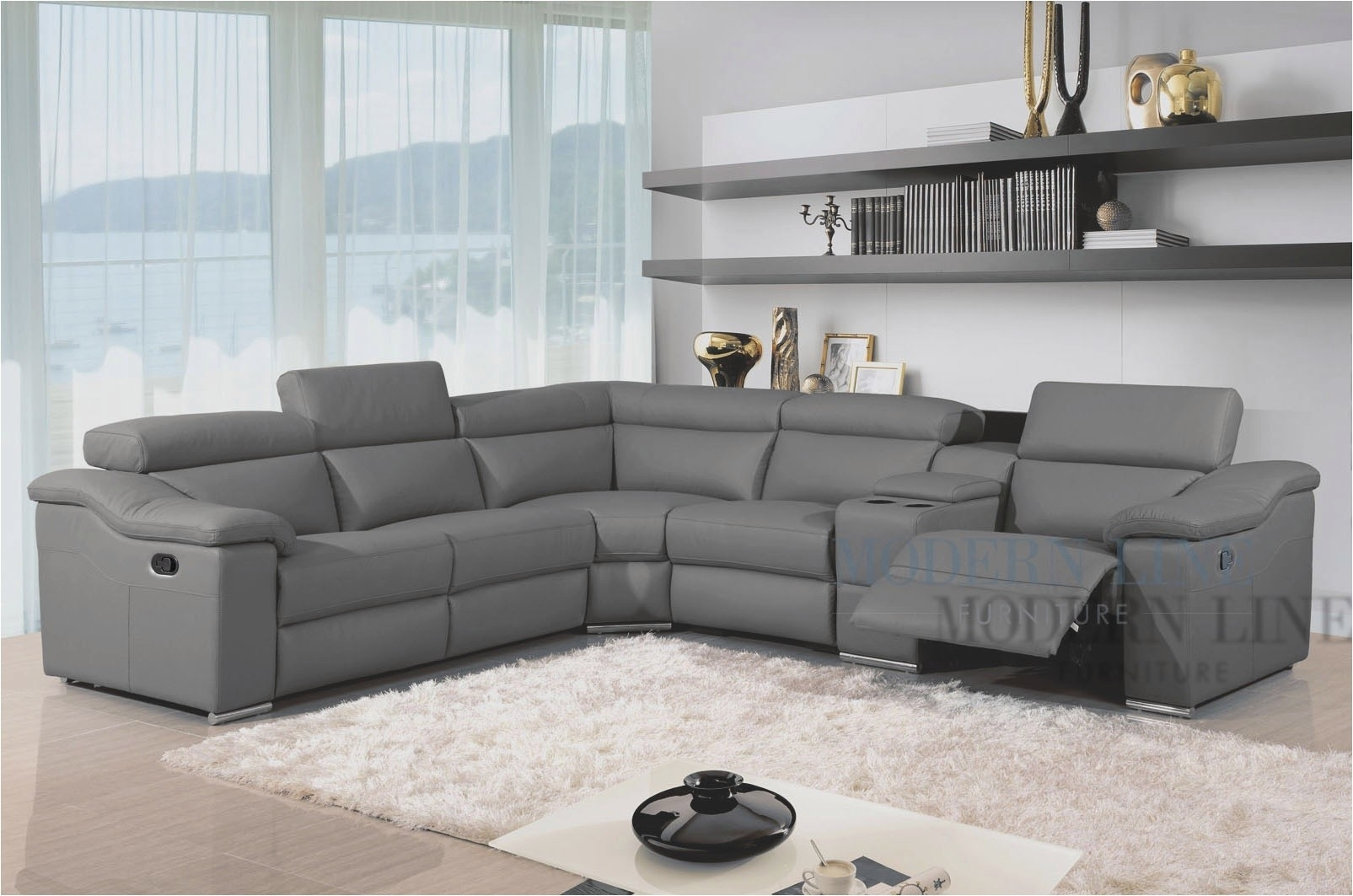 Grey Leather Reclining Sectional Clyde 3 Piece Power W Pwr Hdrst for Clyde Grey Leather 3 Piece Power Reclining Sectionals With Pwr Hdrst & Usb (Image 8 of 30)