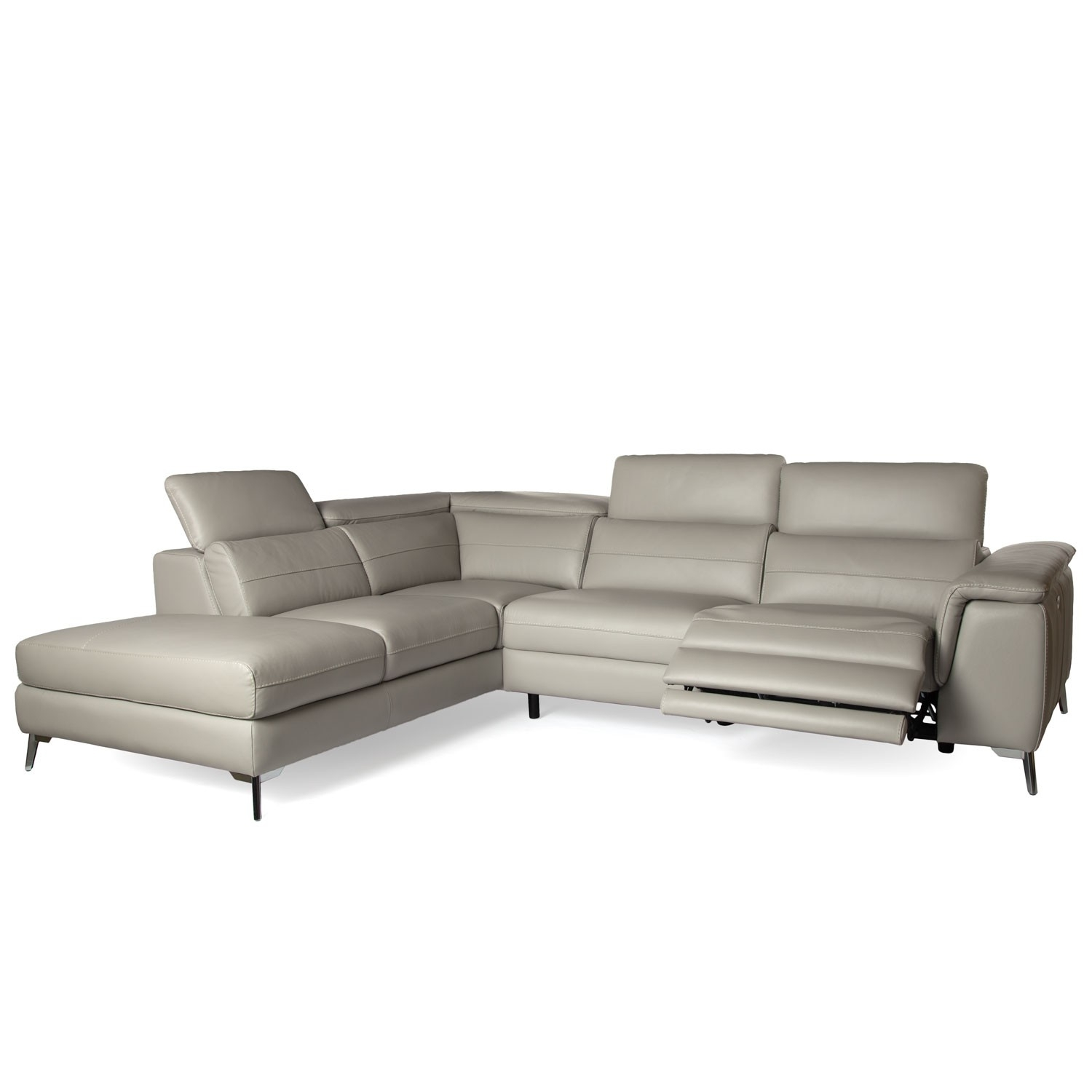 Grey Leather Reclining Sectional Clyde 3 Piece Power W Pwr Hdrst for Clyde Grey Leather 3 Piece Power Reclining Sectionals With Pwr Hdrst & Usb (Image 7 of 30)