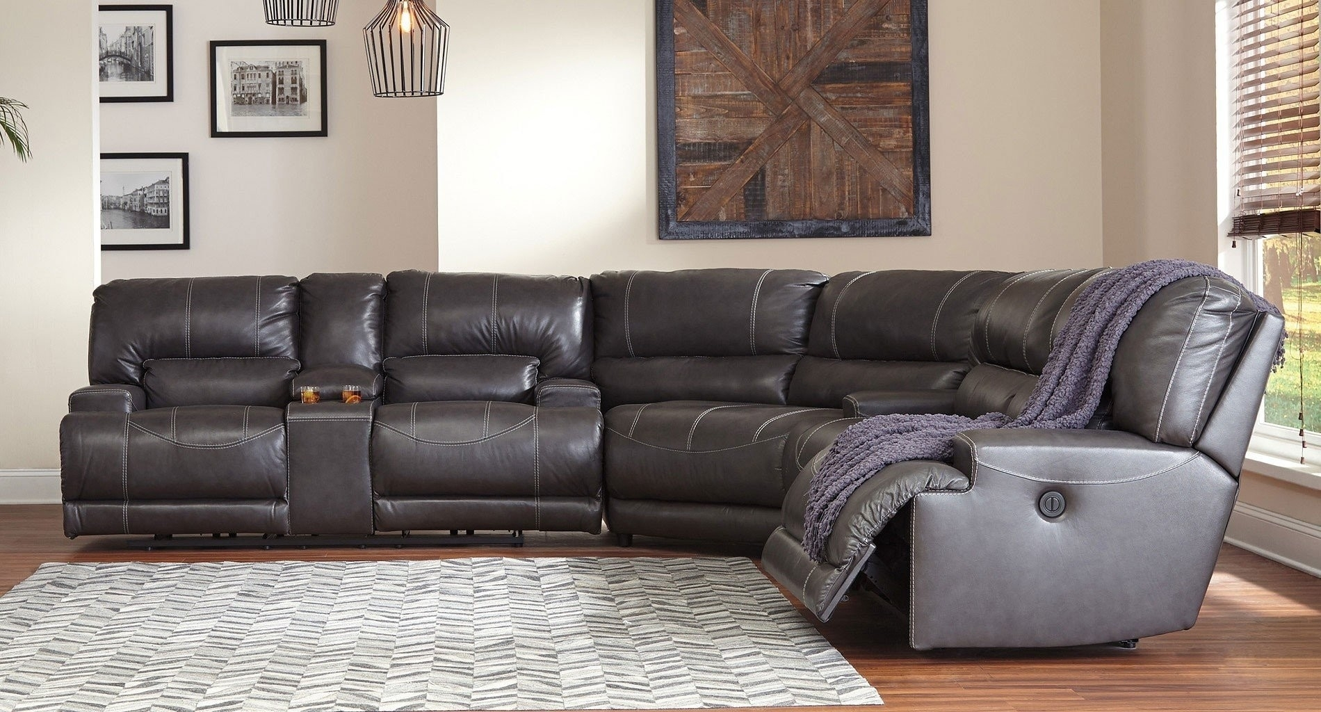 Grey Leather Reclining Sectional Clyde 3 Piece Power W Pwr Hdrst intended for Clyde Grey Leather 3 Piece Power Reclining Sectionals With Pwr Hdrst & Usb (Image 10 of 30)
