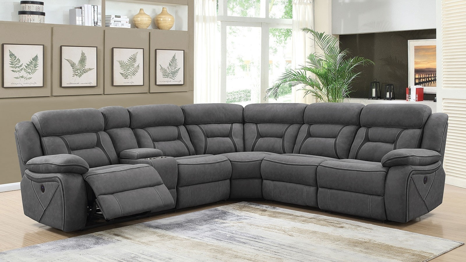 Grey Reclining Sectional Camargue Power Coaster Furniture 600370 throughout Denali Charcoal Grey 6 Piece Reclining Sectionals With 2 Power Headrests (Image 17 of 30)