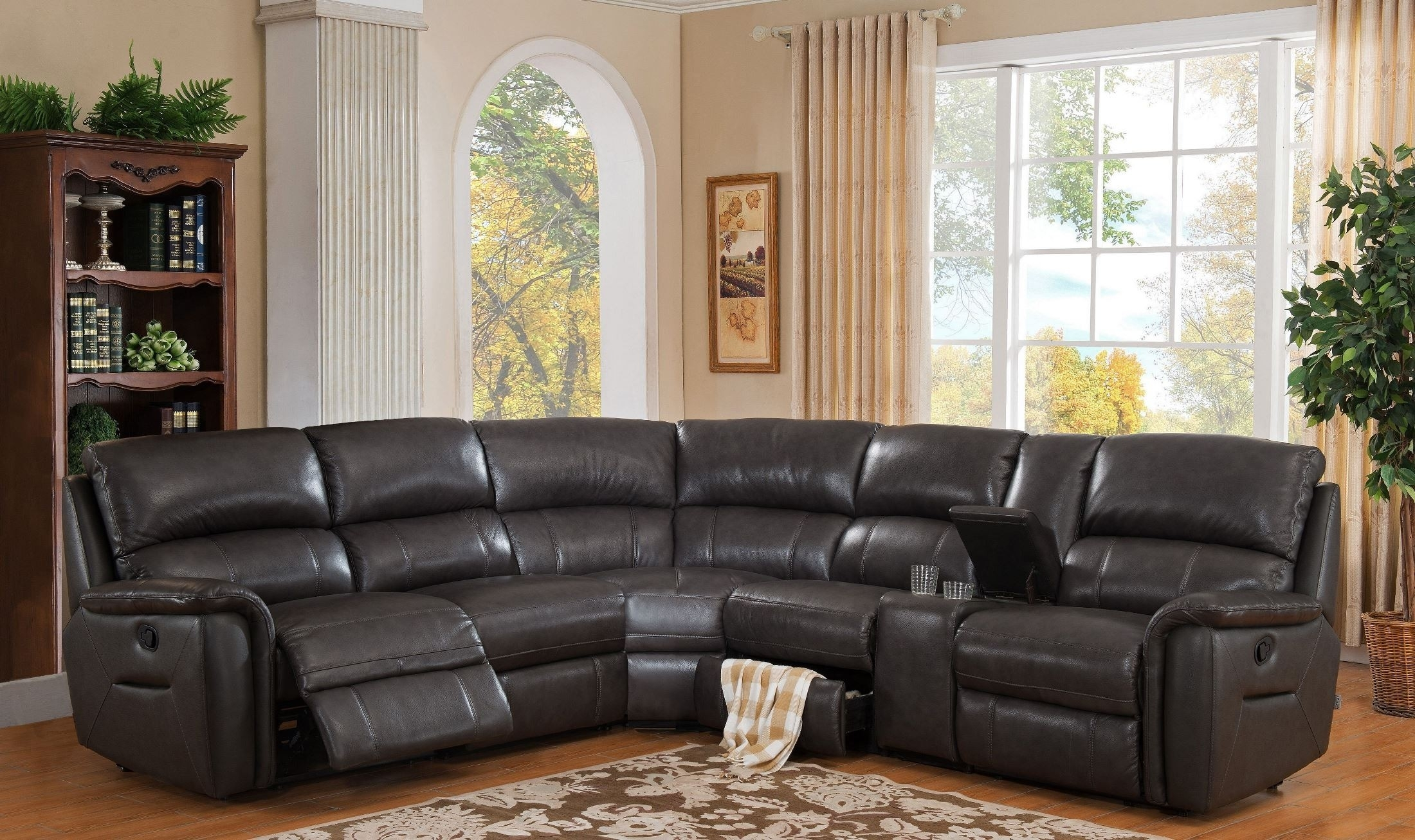 Grey Reclining Sectional - Tidex in Calder Grey 6 Piece Manual Reclining Sectionals (Image 17 of 30)