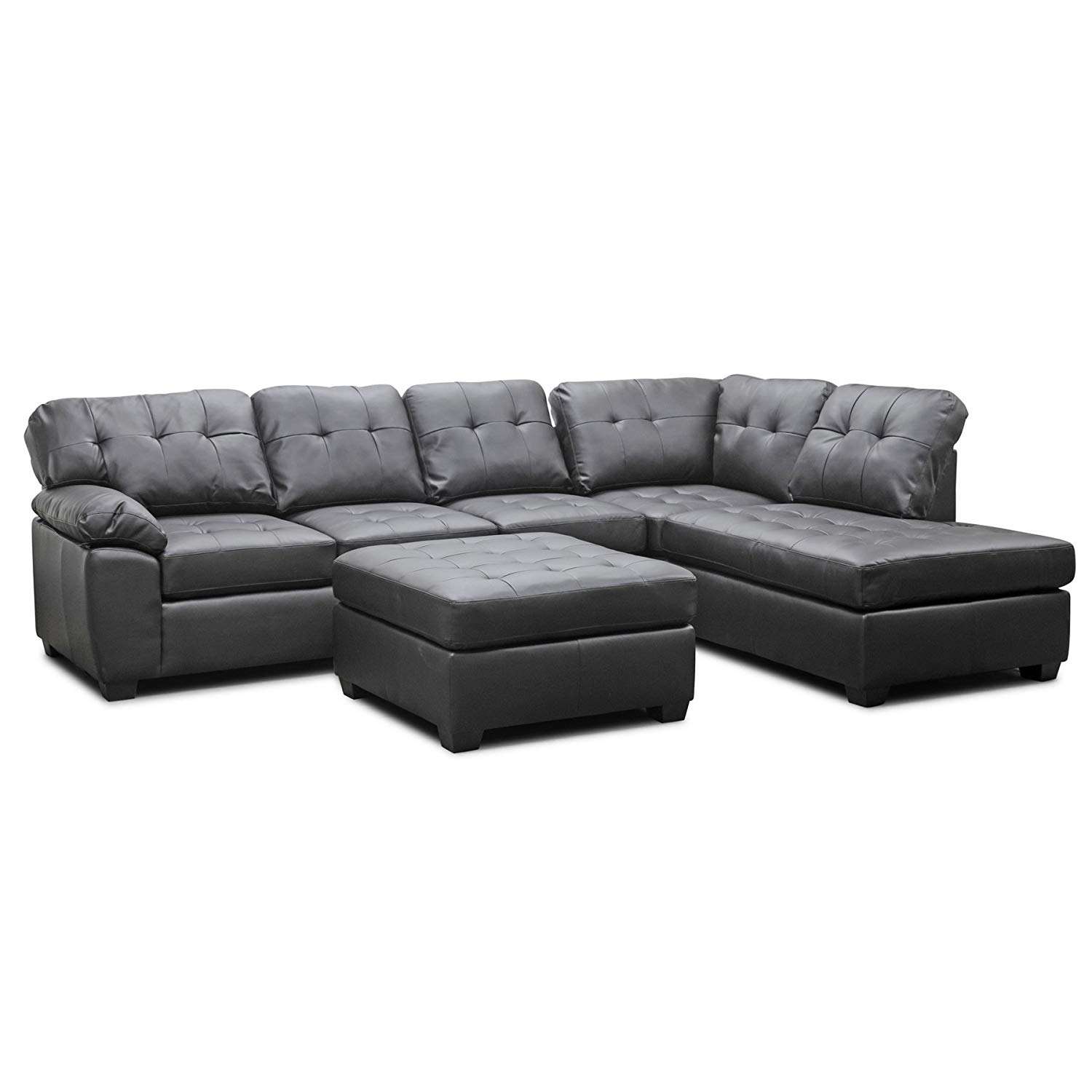 Grey Sectional Sofa With Ottoman Aspen Leather Reviews 3Pc Set Black with Aspen 2 Piece Sectionals With Raf Chaise (Image 18 of 30)