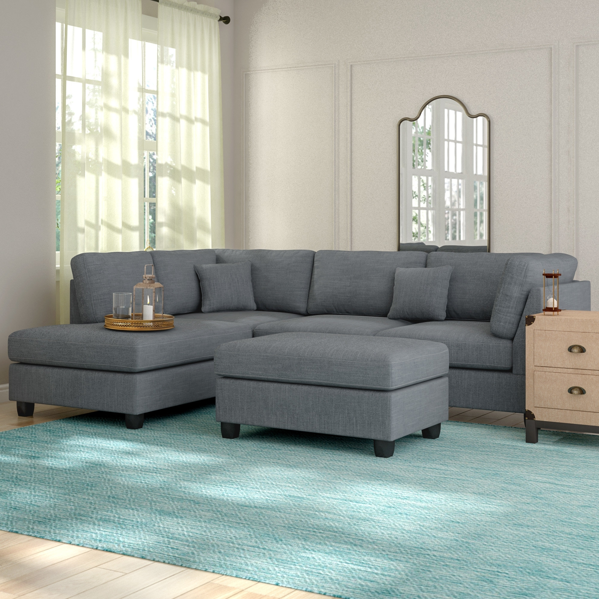 Grey Sectionals You'll Love | Wayfair pertaining to Norfolk Chocolate 6 Piece Sectionals (Image 15 of 30)