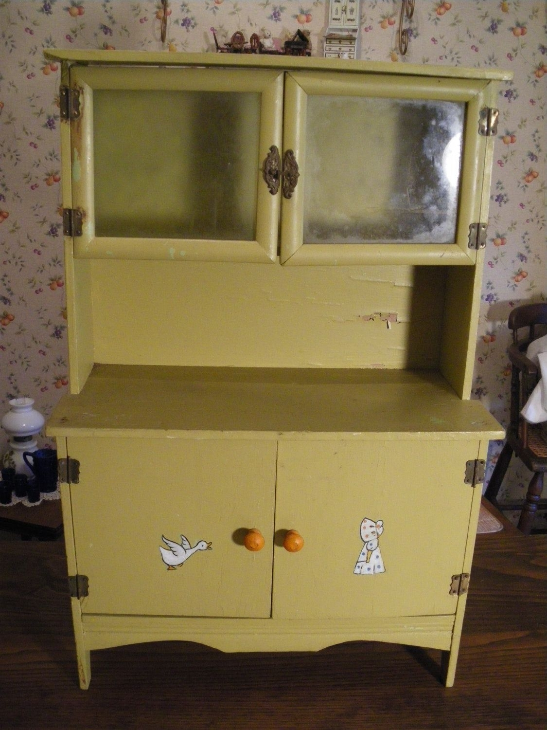 Half Price Sale Antique Child's Kitchen Cabinet Cupboard Hoosier in Rossi Large Sideboards (Image 12 of 30)