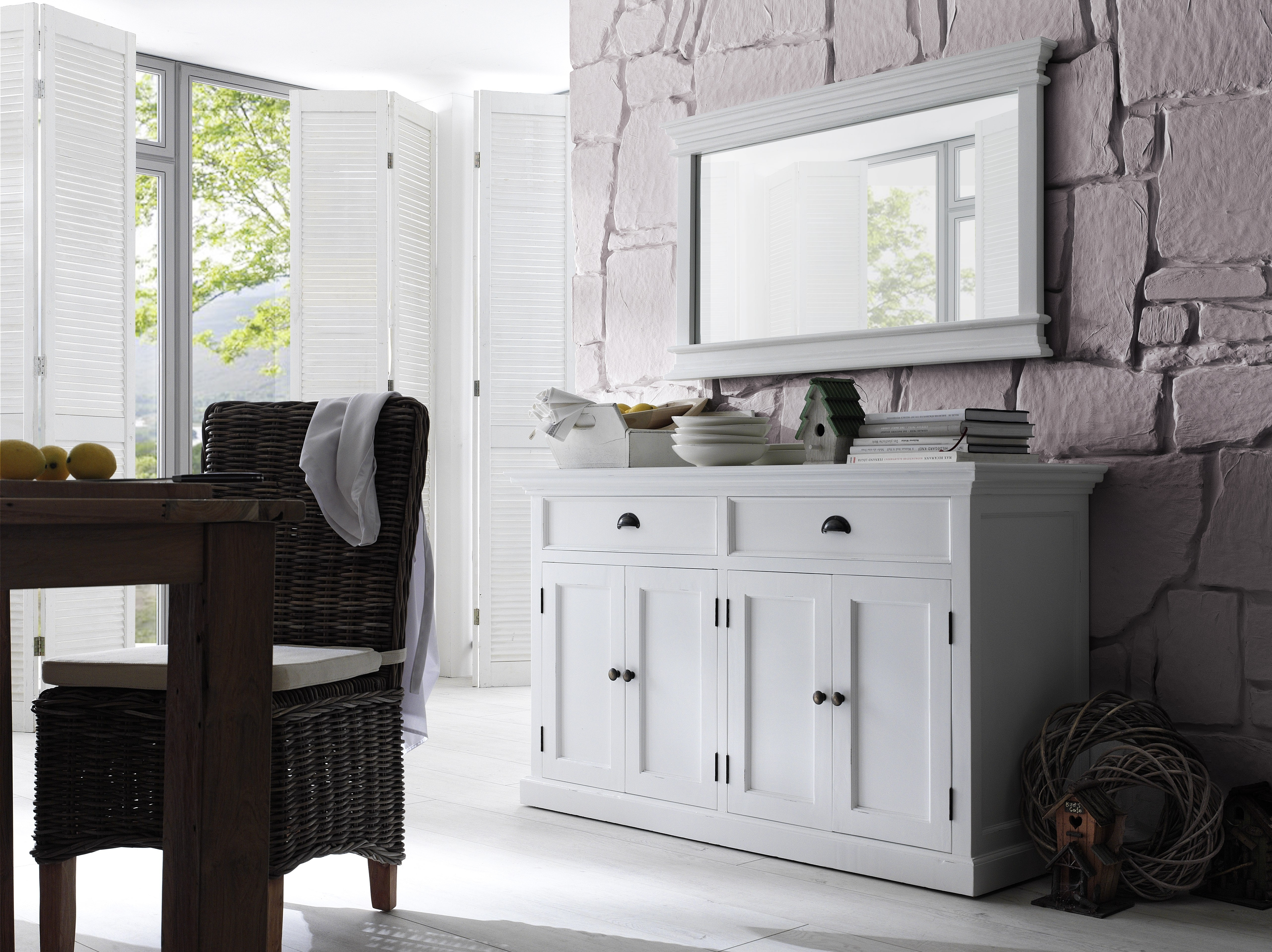Halifax White Painted Classic Buffet Sideboard - Style Our Home for Walnut Finish Crown Moulding Sideboards (Image 20 of 30)