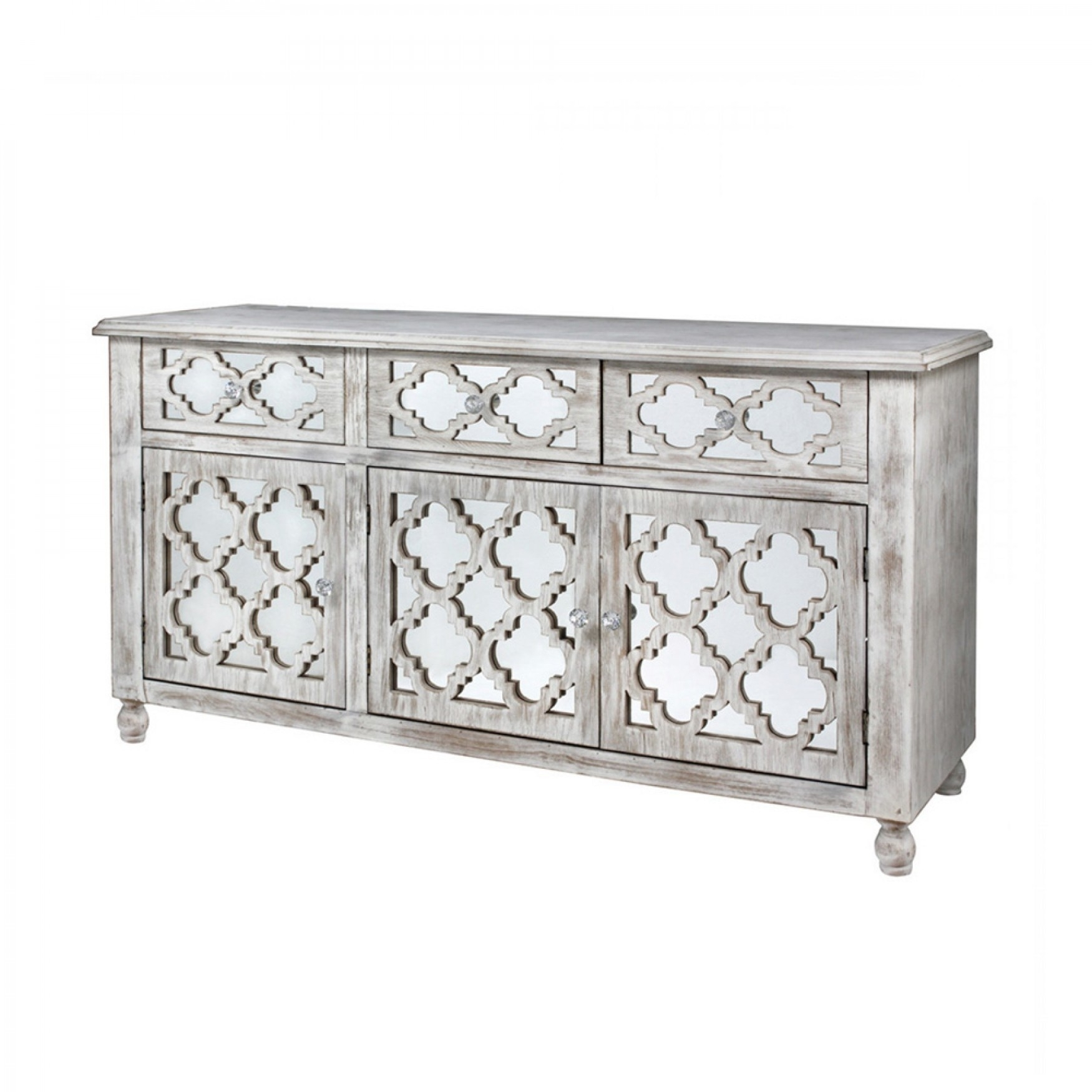 Hampton Beach 3 Door 3 Drawer Cabinet Washed Ash And Mirror with regard to White Wash 3-Door 3-Drawer Sideboards (Image 12 of 30)