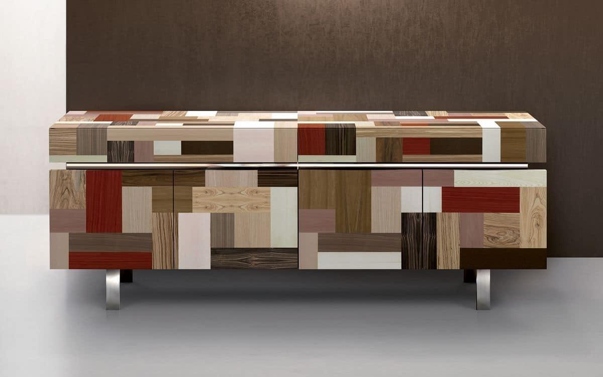 Hand Covered Sideboard, Precious Wood Essences, 4 Doors | Idfdesign inside Ironwood 4-Door Sideboards (Image 9 of 30)