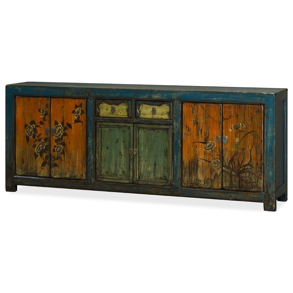 Hand Painted Elmwood Tibetan Cabinet | Furniture | Pinterest throughout Reclaimed Sideboards With Metal Panel (Image 6 of 30)