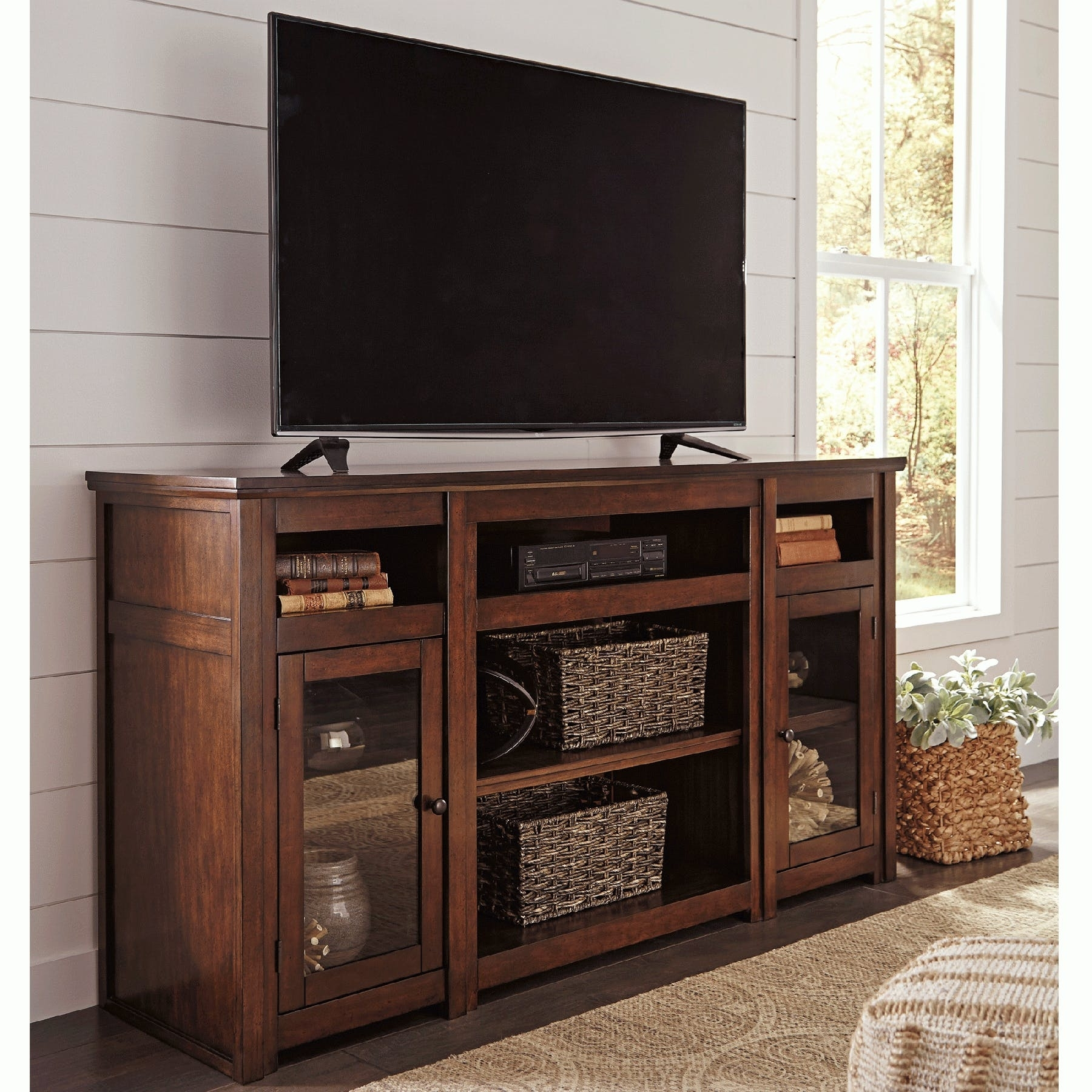 Harpan 72 Inch Entertainment Unit - Bernie & Phyl's Furniture - intended for Brown Wood 72 Inch Sideboards (Image 14 of 30)
